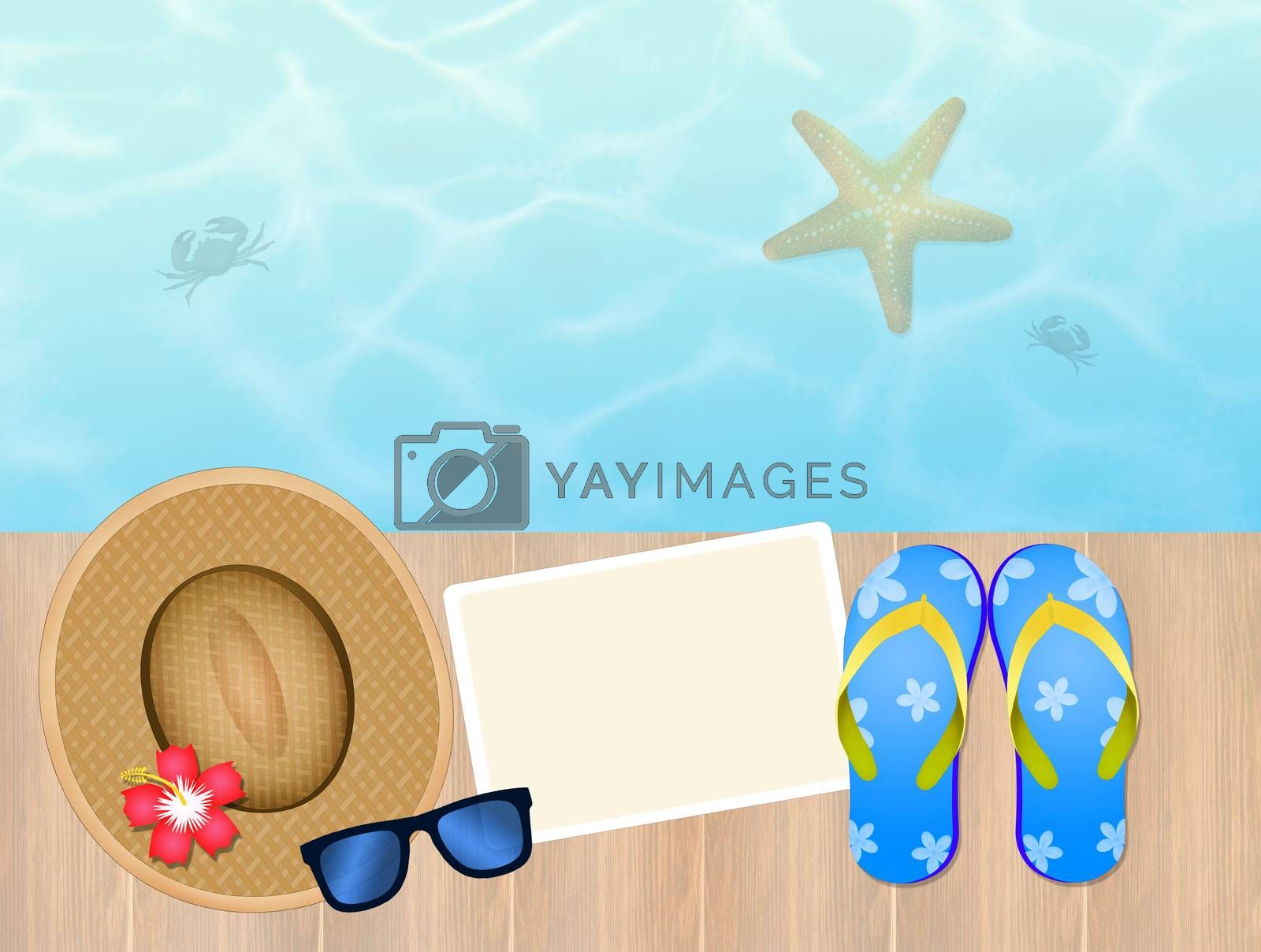 illustration of summer postcard