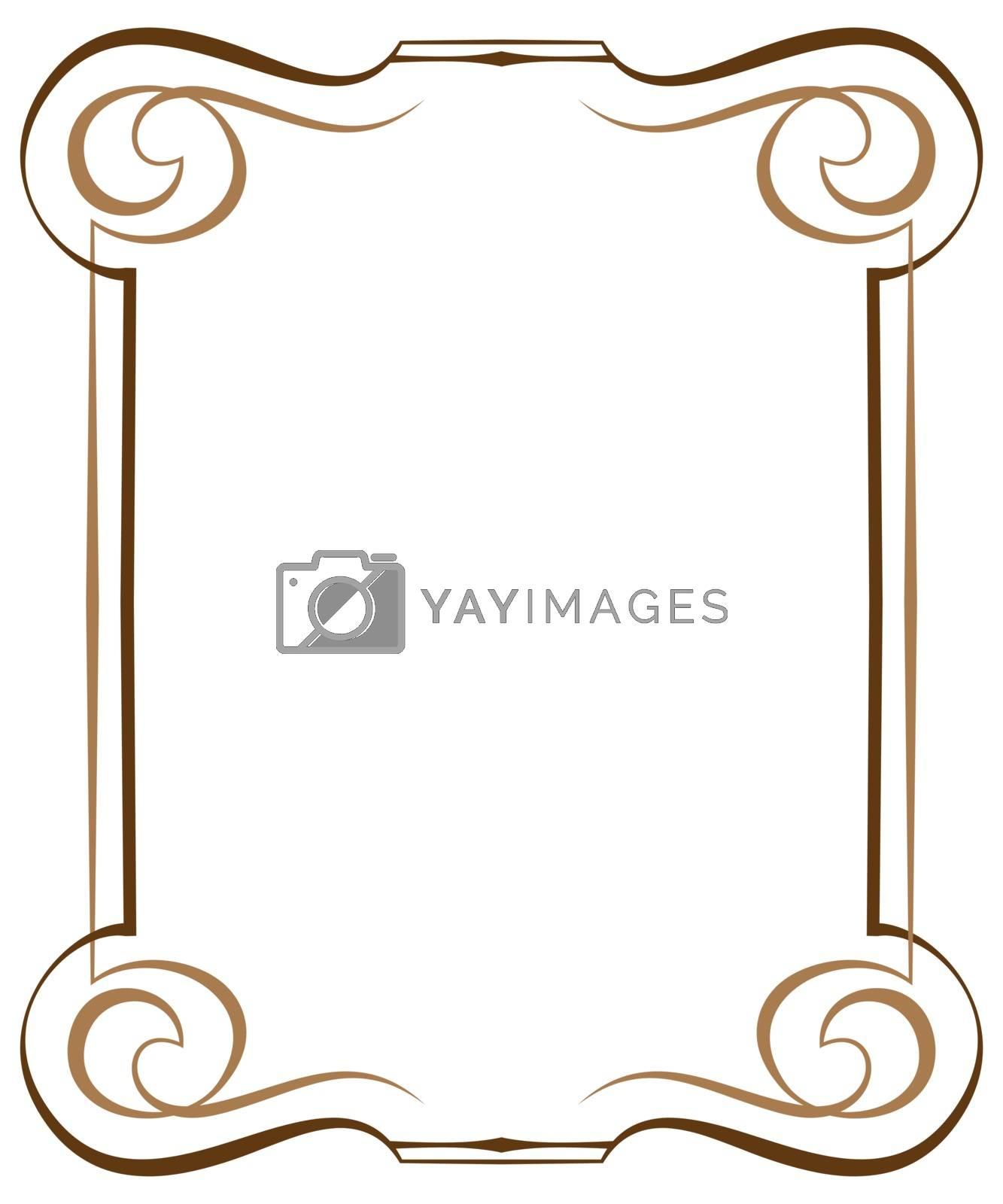 Vintage brawn multilayer vertical vector frame with swirls
