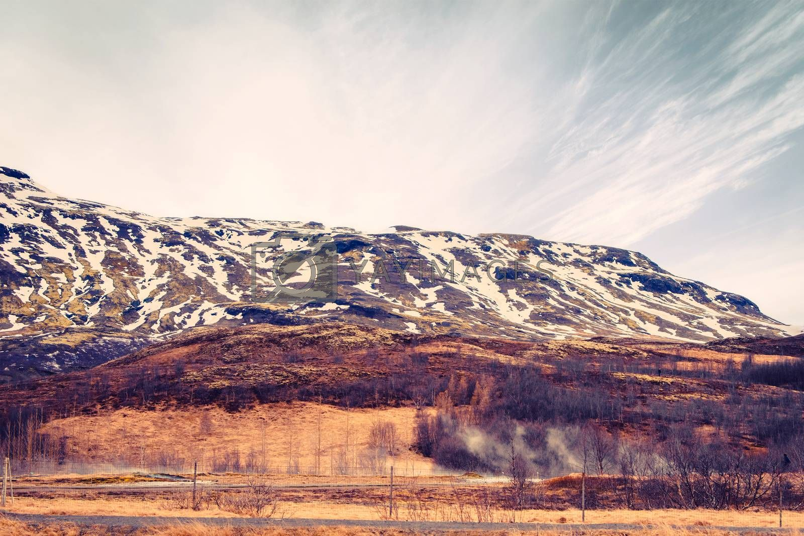 Mountain landscape in Iceland with geothermal fields
