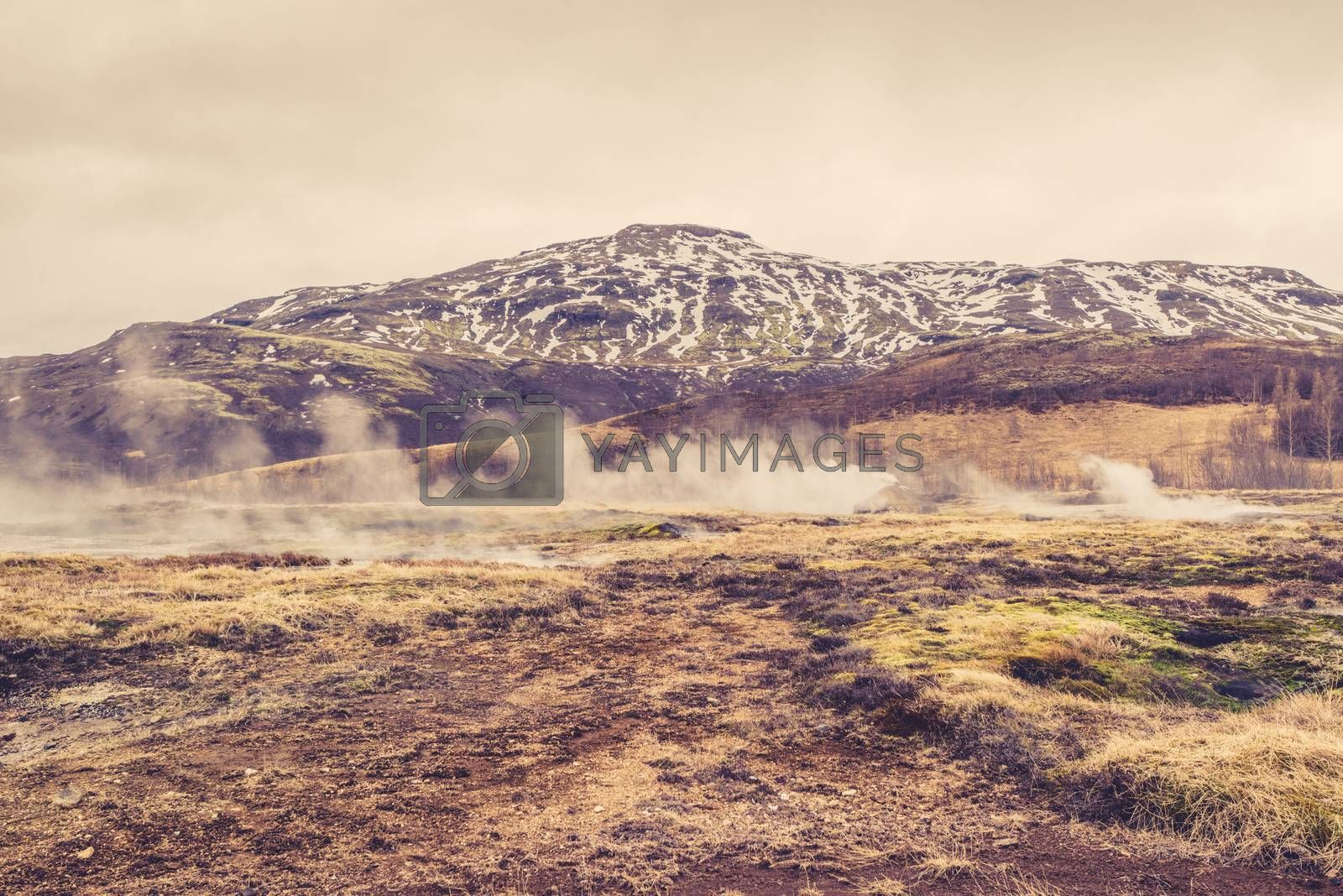 Misty landscape in front of a mountain in Iceland