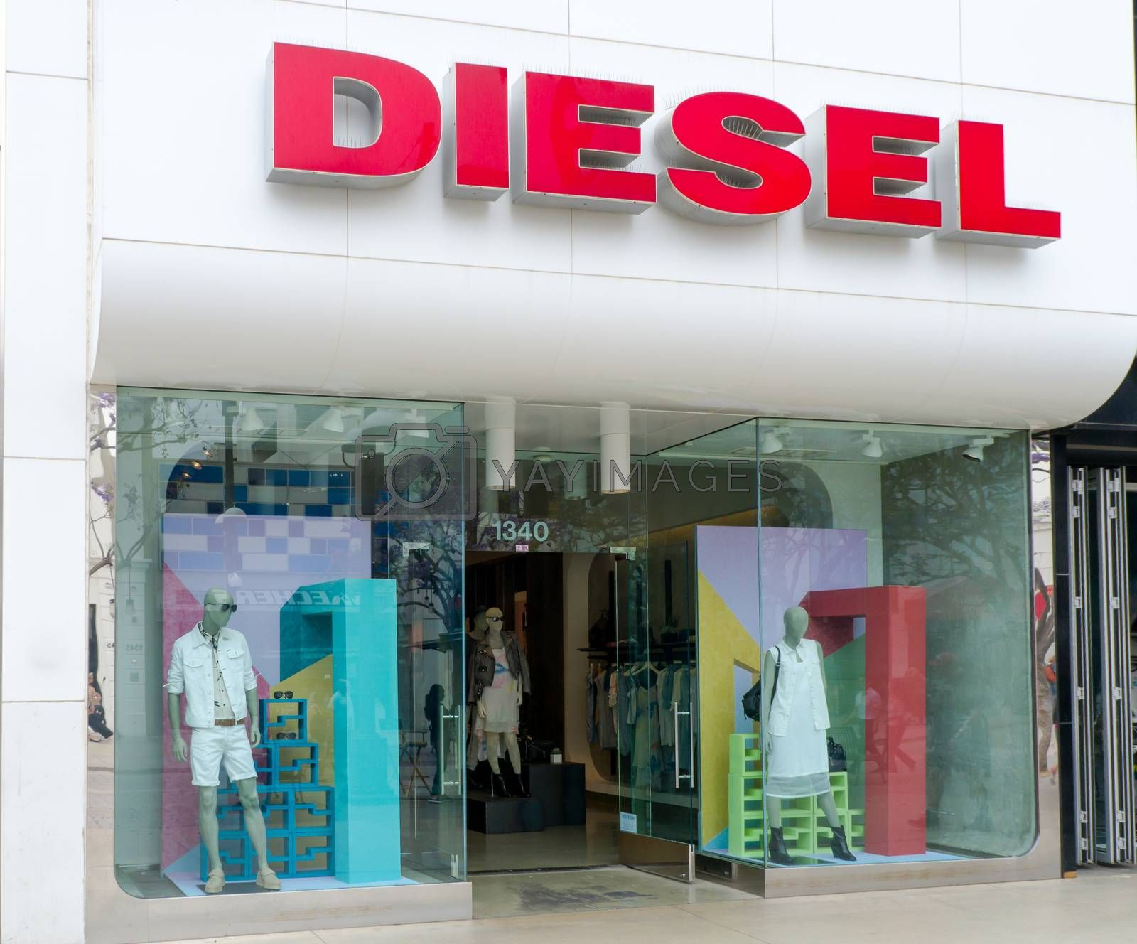 SANTA MONICA, CA/USA - MAY 12, 2015: Diesel store exterior and sign. Diesel is an Italian retail clothing company selling denim, and other clothing and accessories.