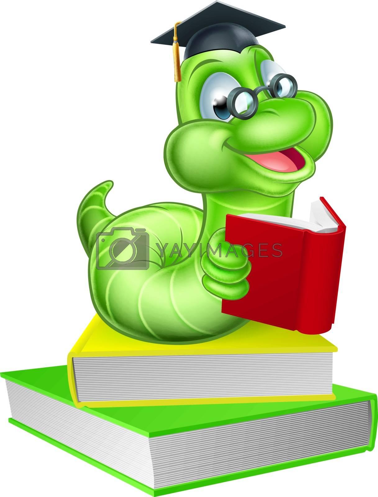Cute smiling green cartoon caterpillar worm bookworm mascot wearing glasses and mortar board graduation hat reading a book