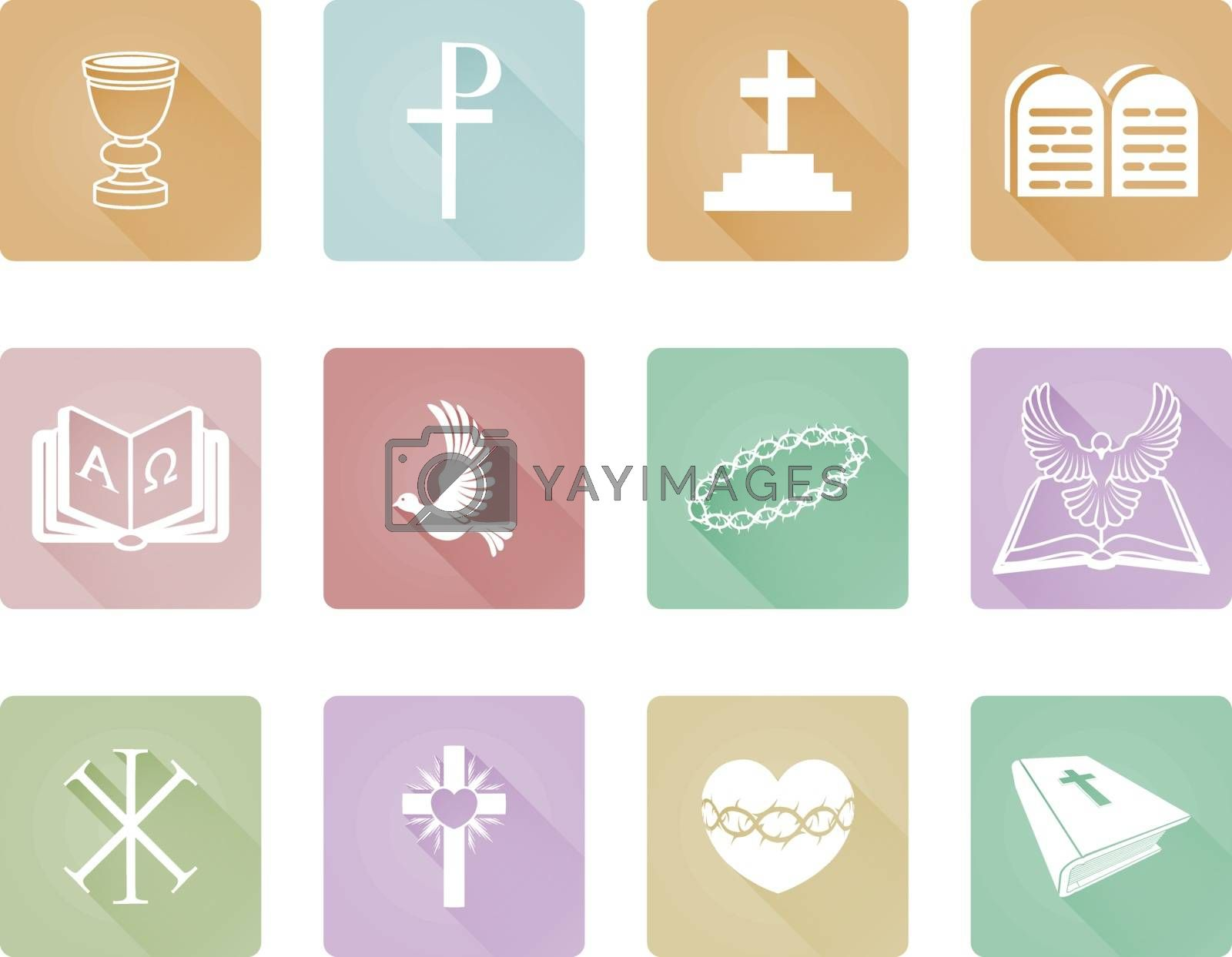 A set of Christian icons and symbols including crown of thorns, dove, alpha omega and cross