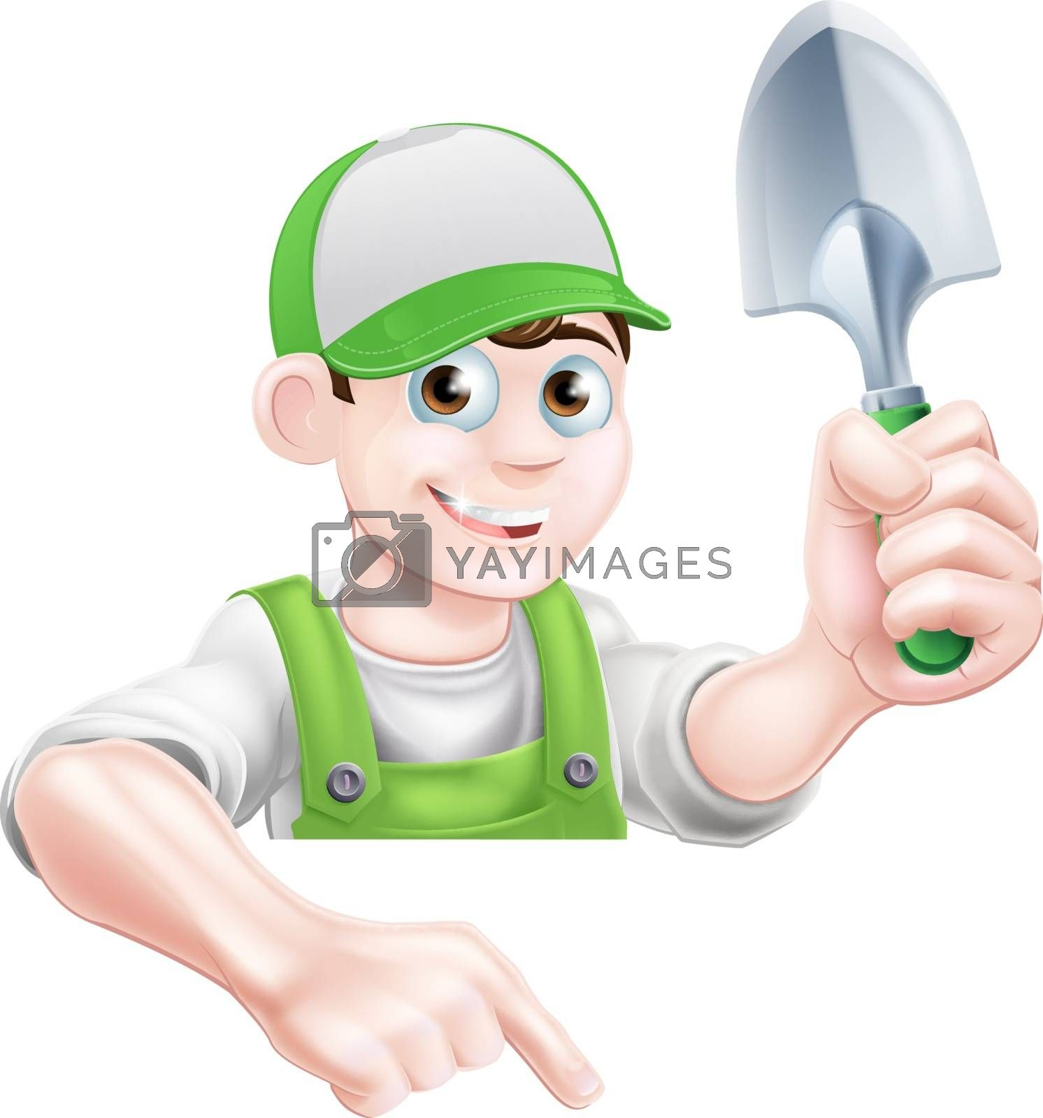 A cartoon gardener character in a cap and green dungarees holding a garden trowel tool and pointing down
