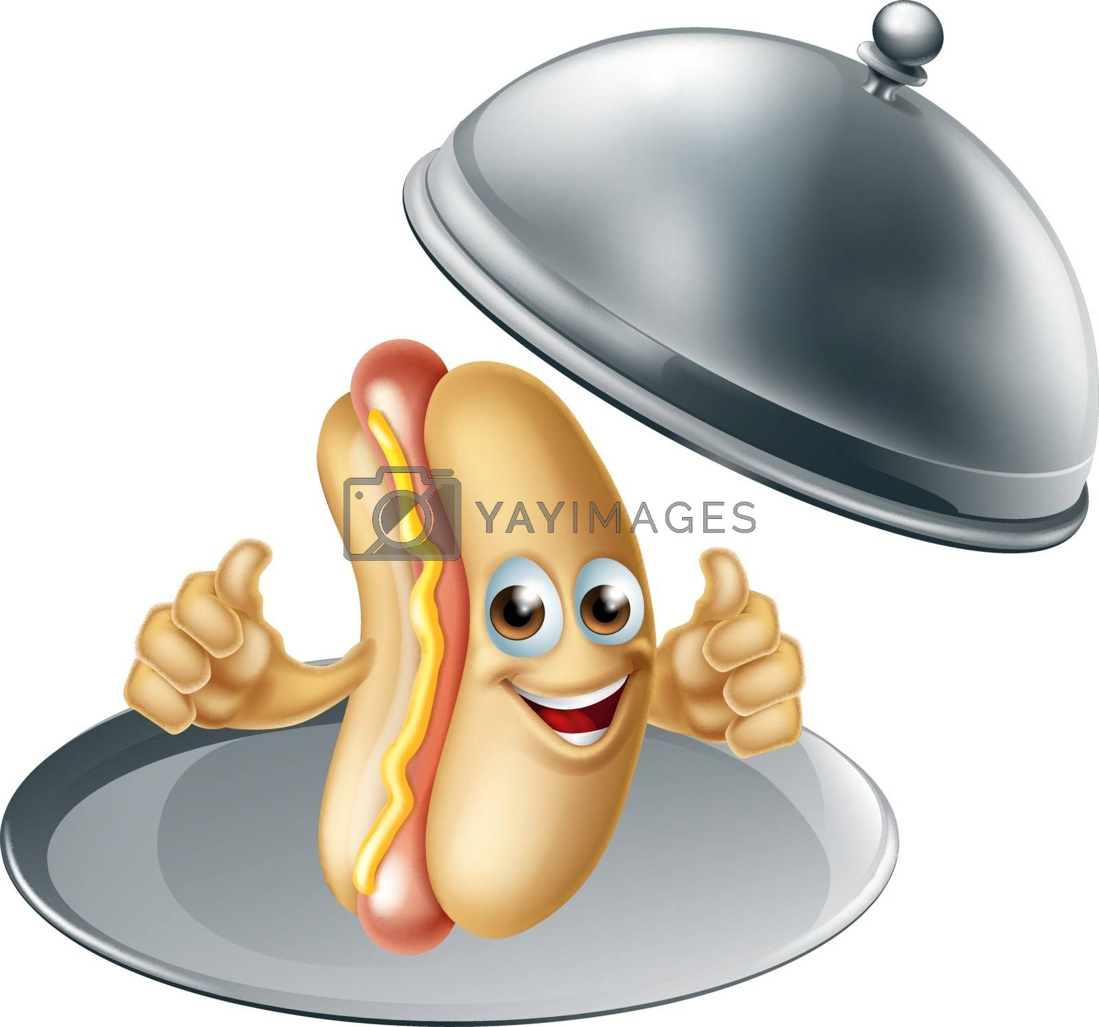 A hot dog sausage cartoon character mascot on a silver platter serving tray giving a thumbs up