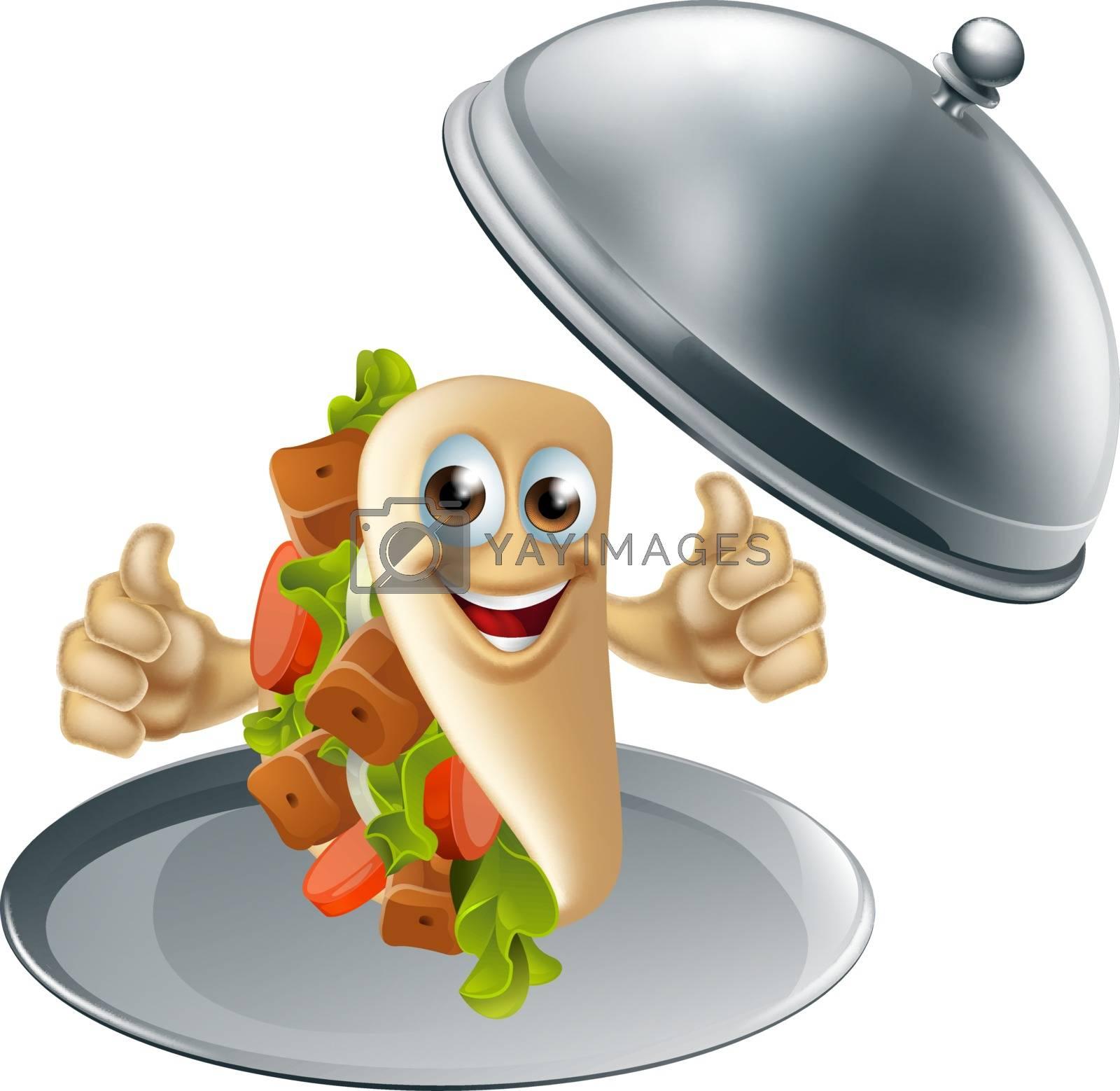 Kebab pita character on serving dish giving a thumbs up