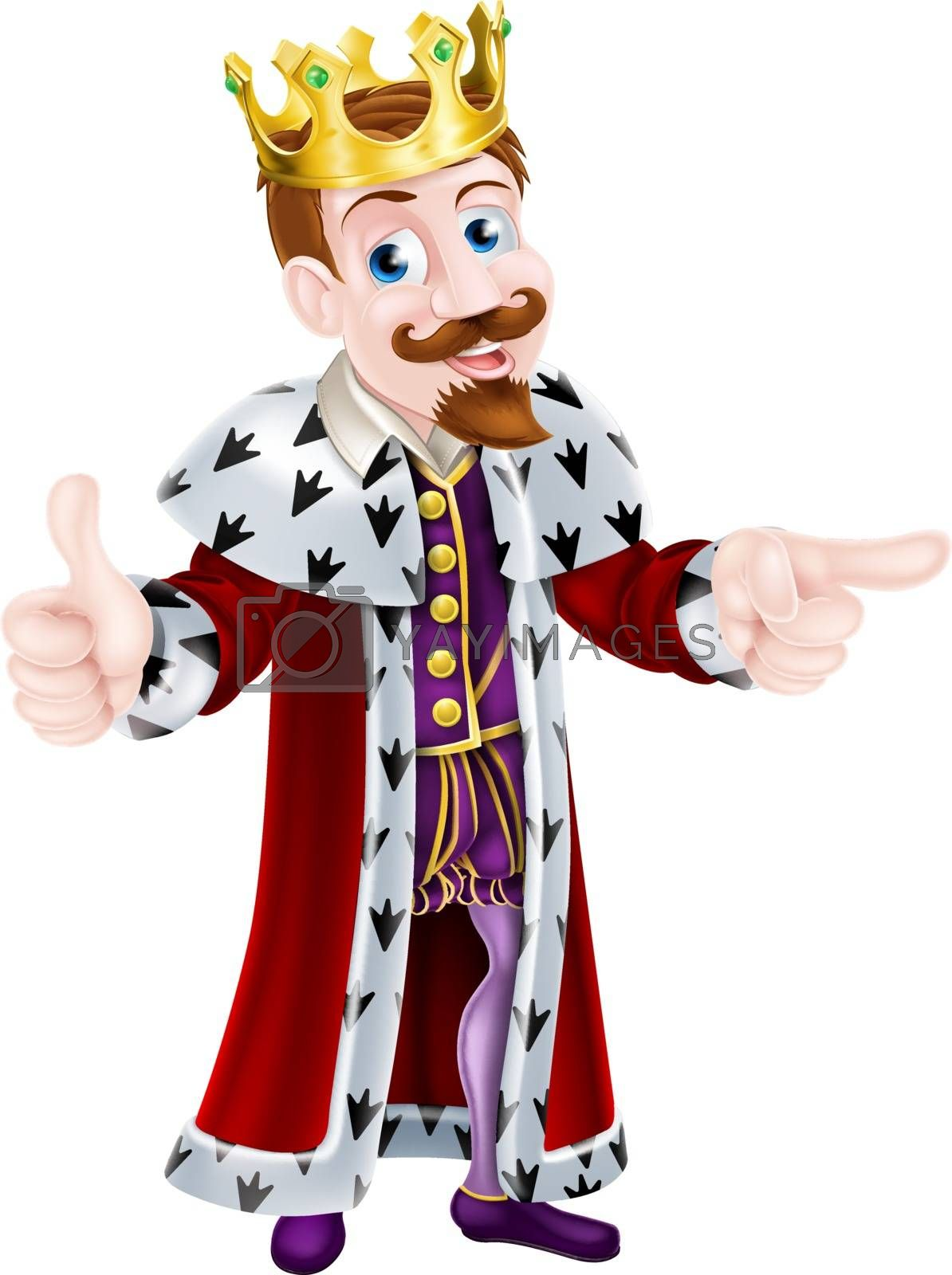 King cartoon character wearing a crown giving a thumbs up with one hand and pointing with the other