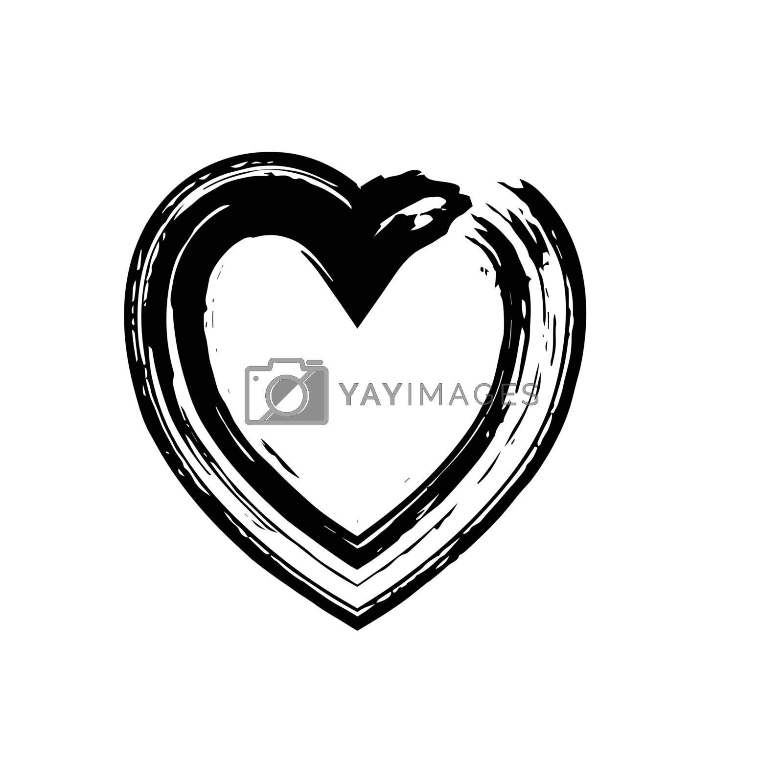 heart shape symbol love vector black. Heart symbol wedding and Valentine day. Heart black outline frame.