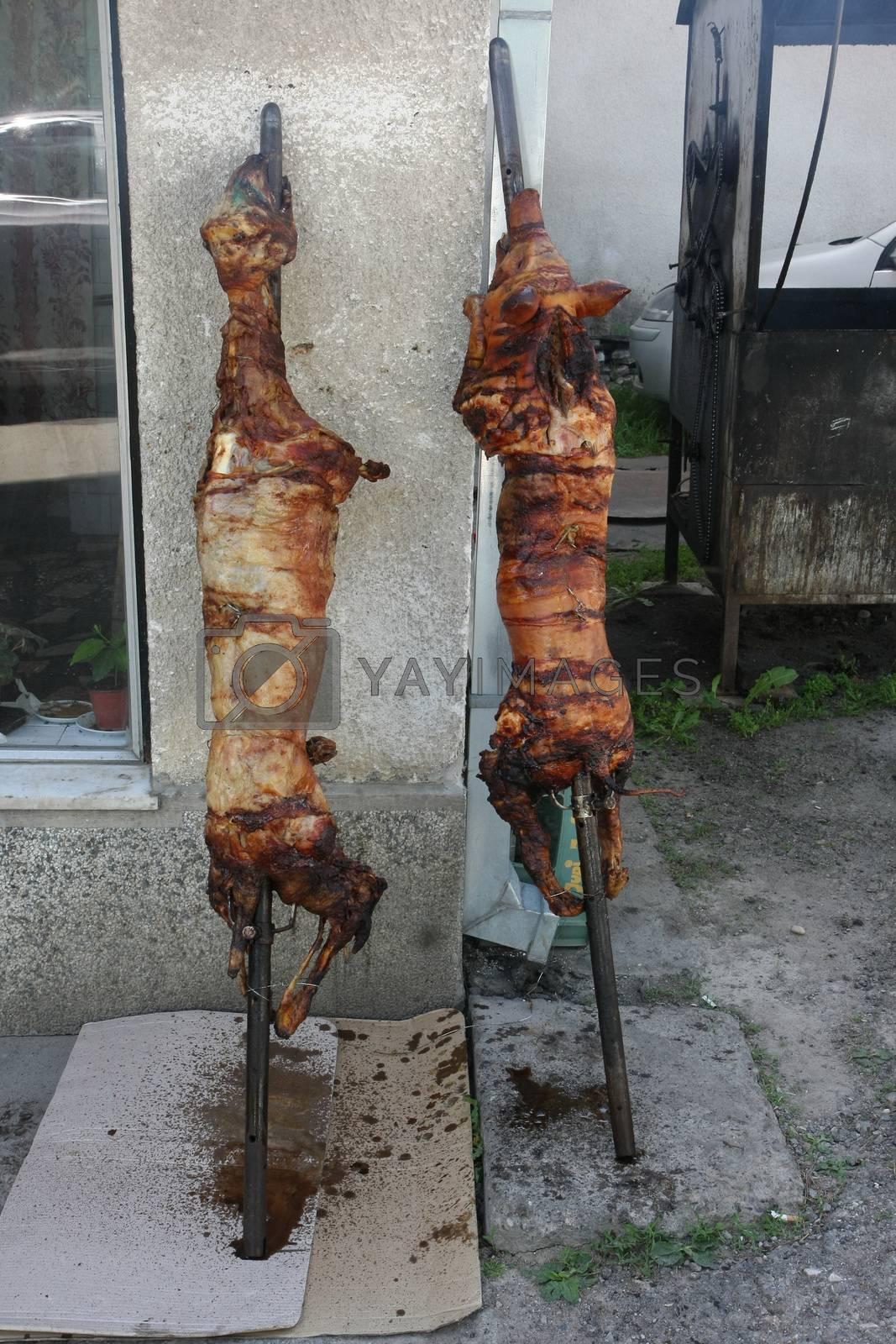 Pigs baked on skewer by tdjoric