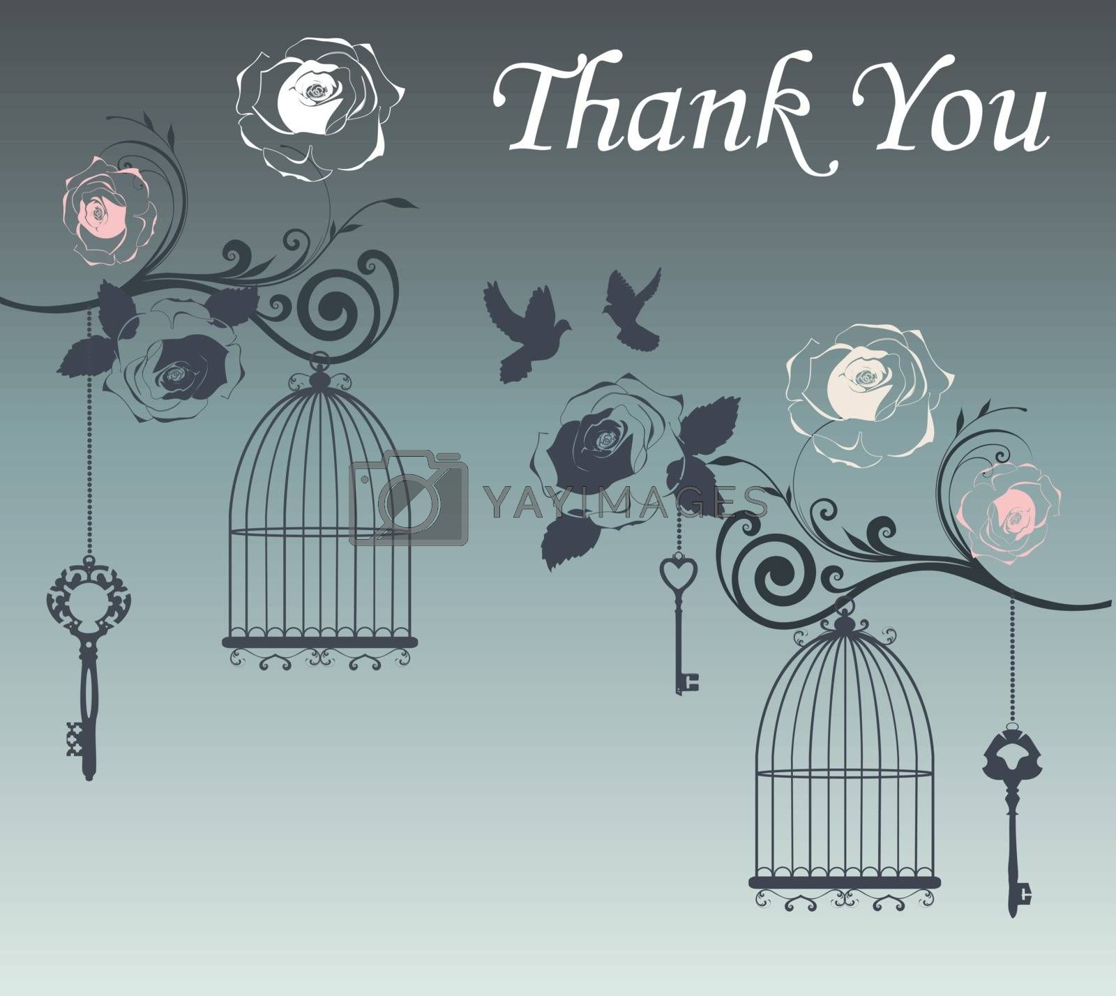 vector illustration of a thank you card with birds