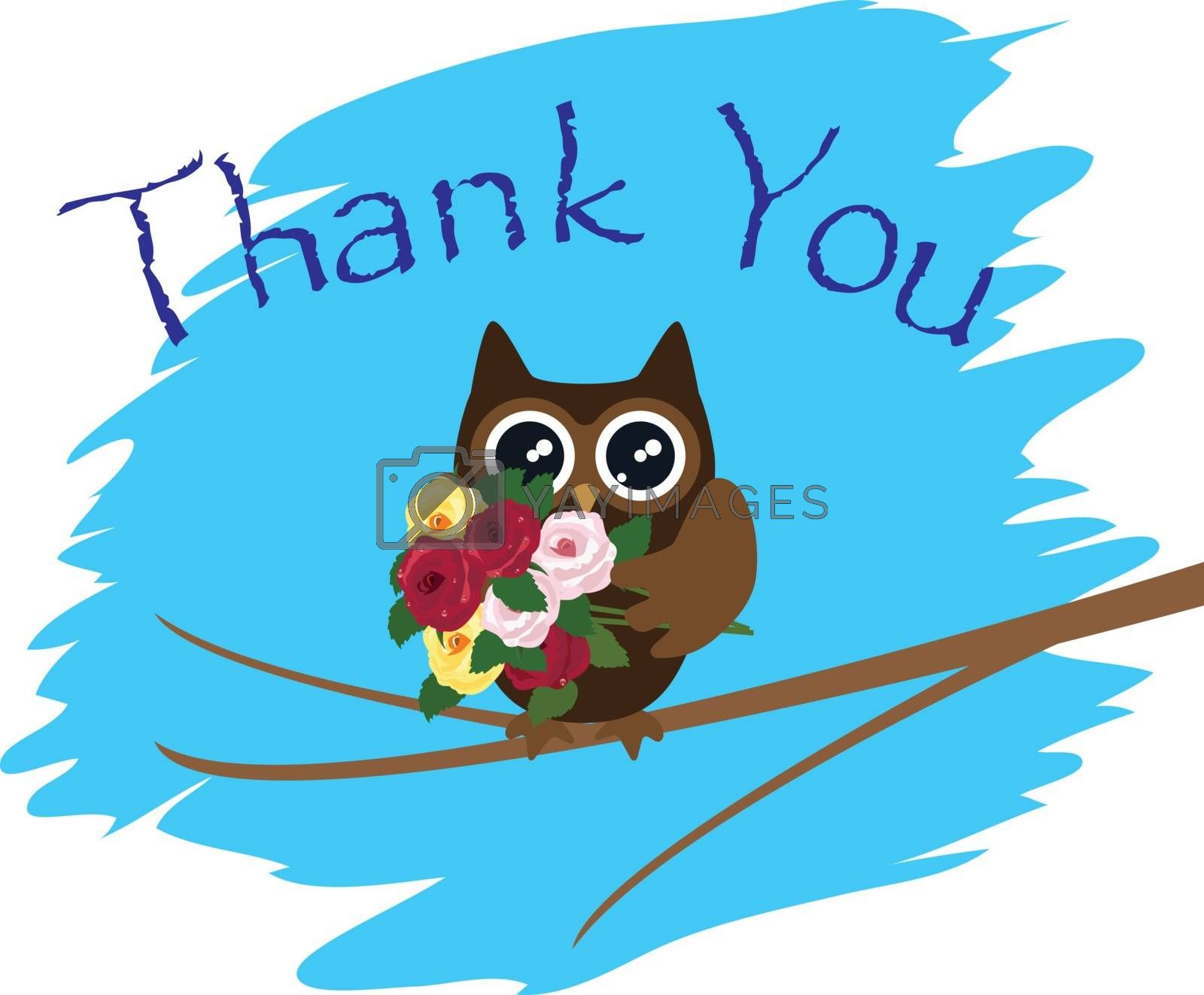 vector illustration of a thank you card with owl and roses