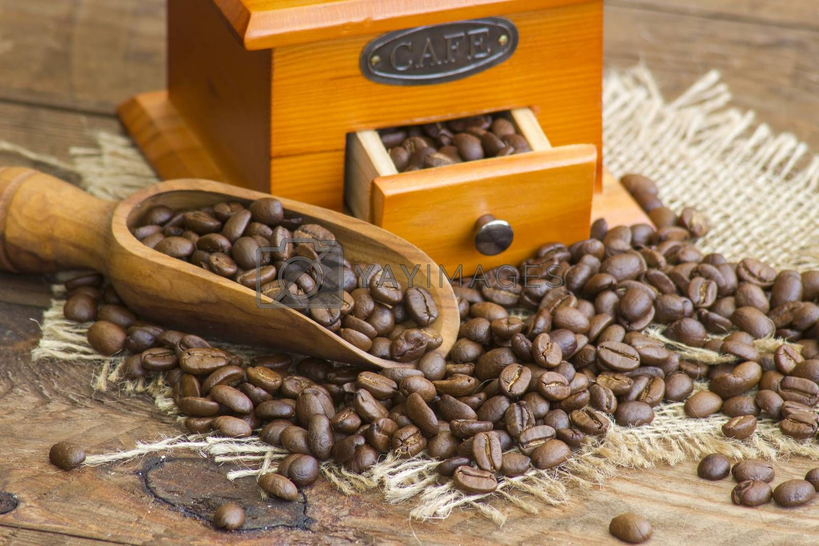 coffee grinder on wooden background with roasted coffee beans
