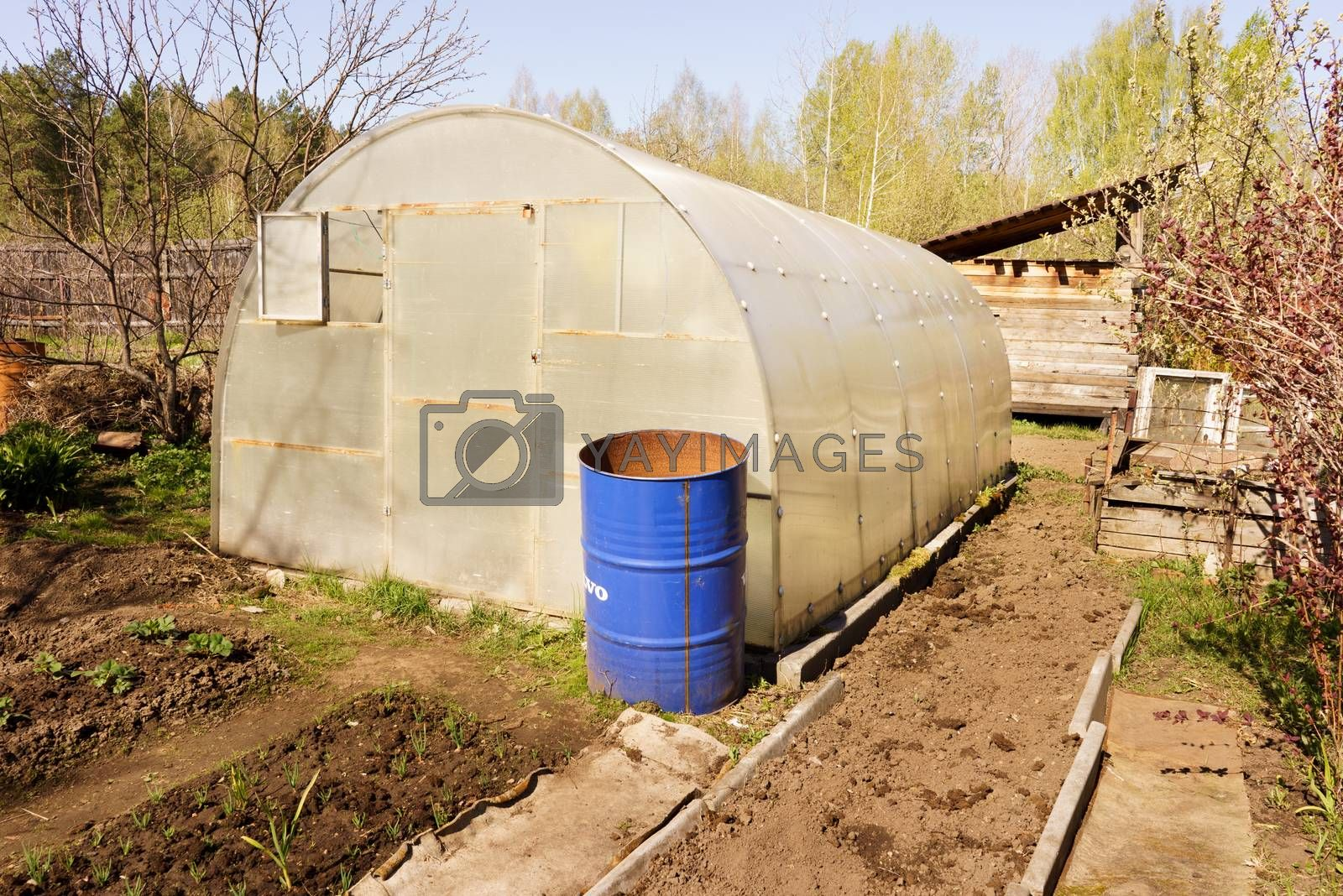 A small greenhouse with air vents in the garden