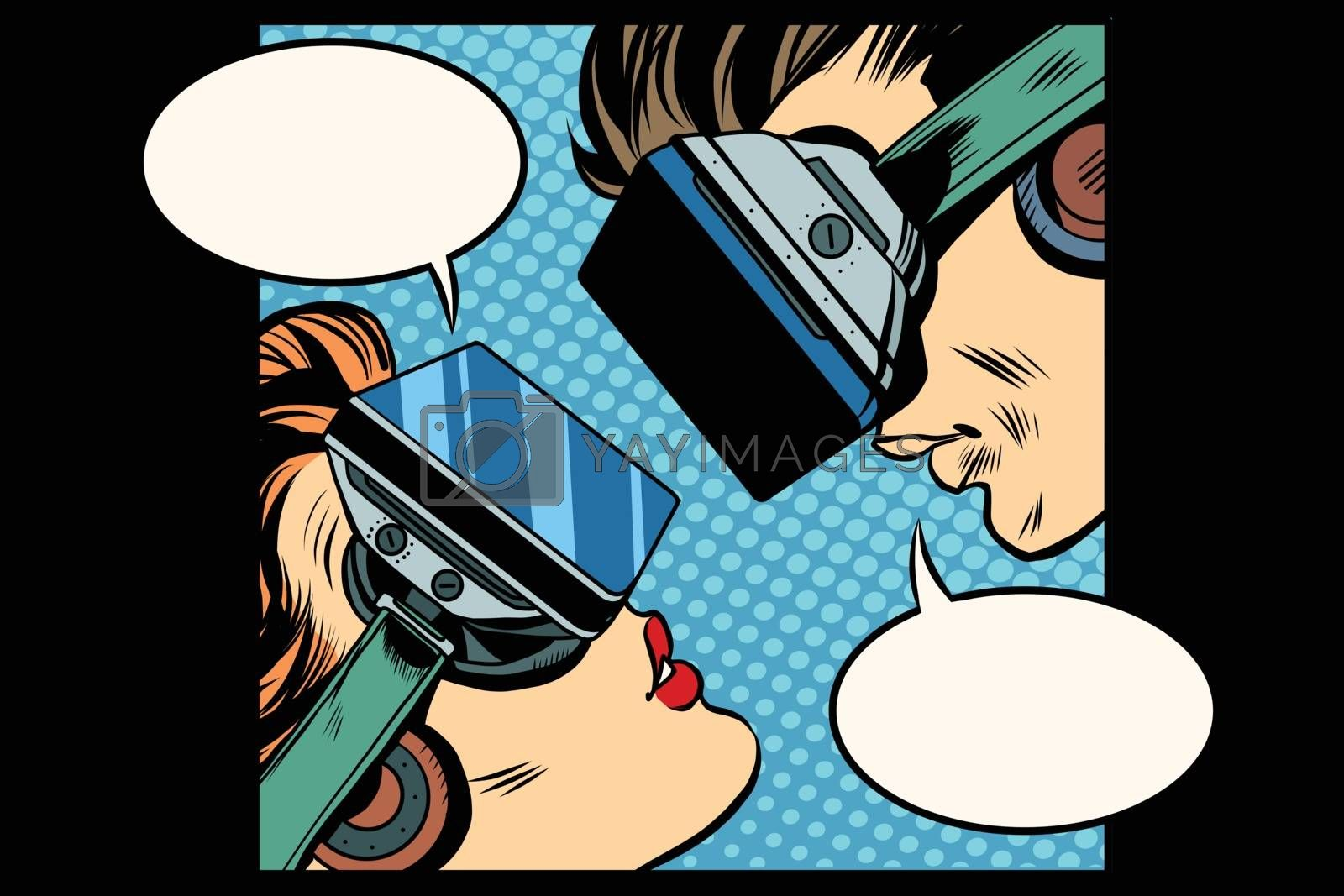 Virtual love man woman glasses virtual reality pop art retro vector. Couple love. Virtual acquaintance. The Internet acquaintance. Science fiction romance