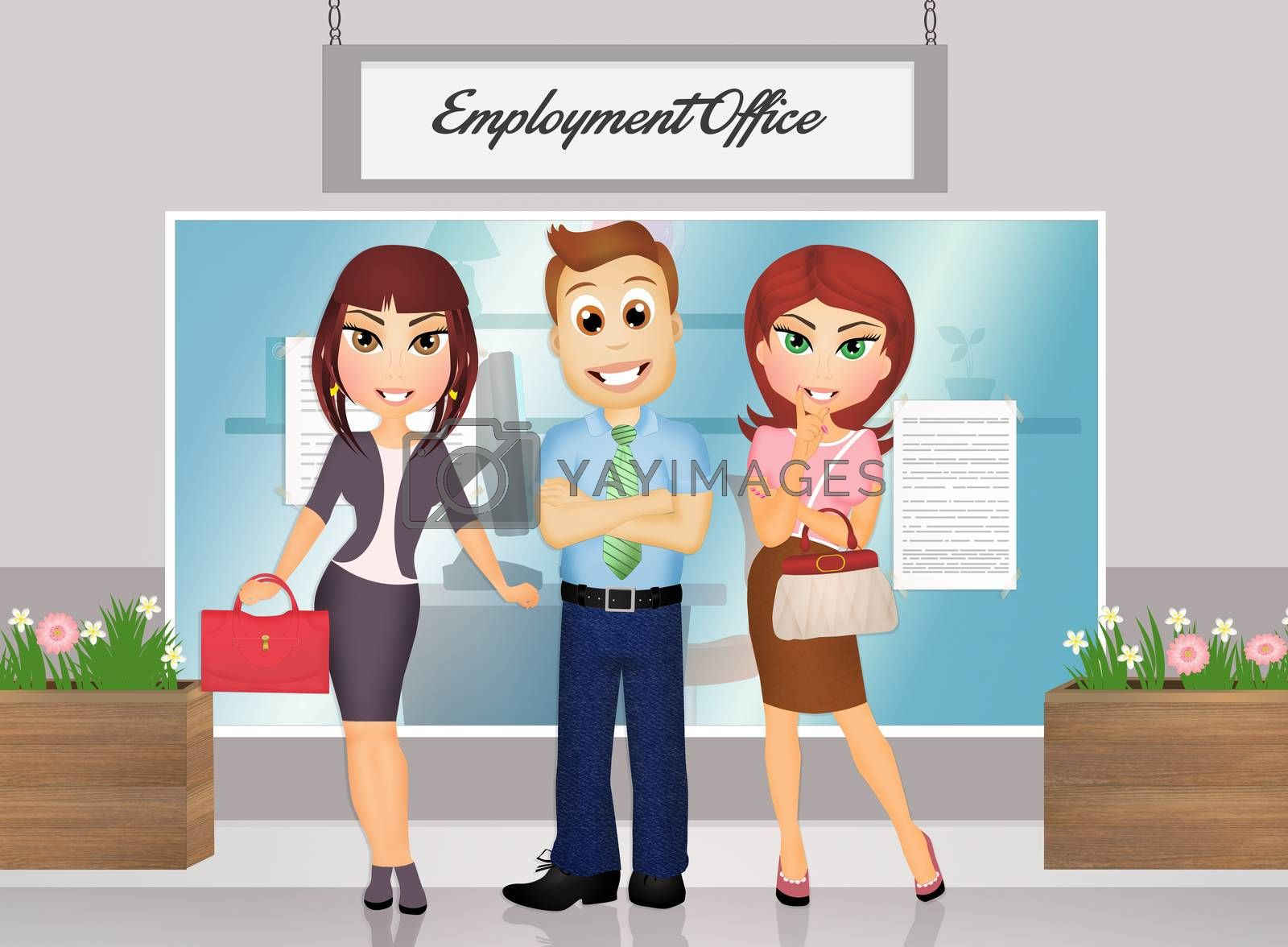 illustration of people at the job