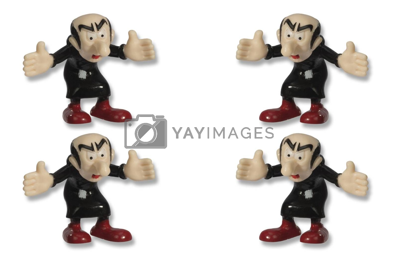 Toy man in a black suit and red shoes opened his arms to embrace