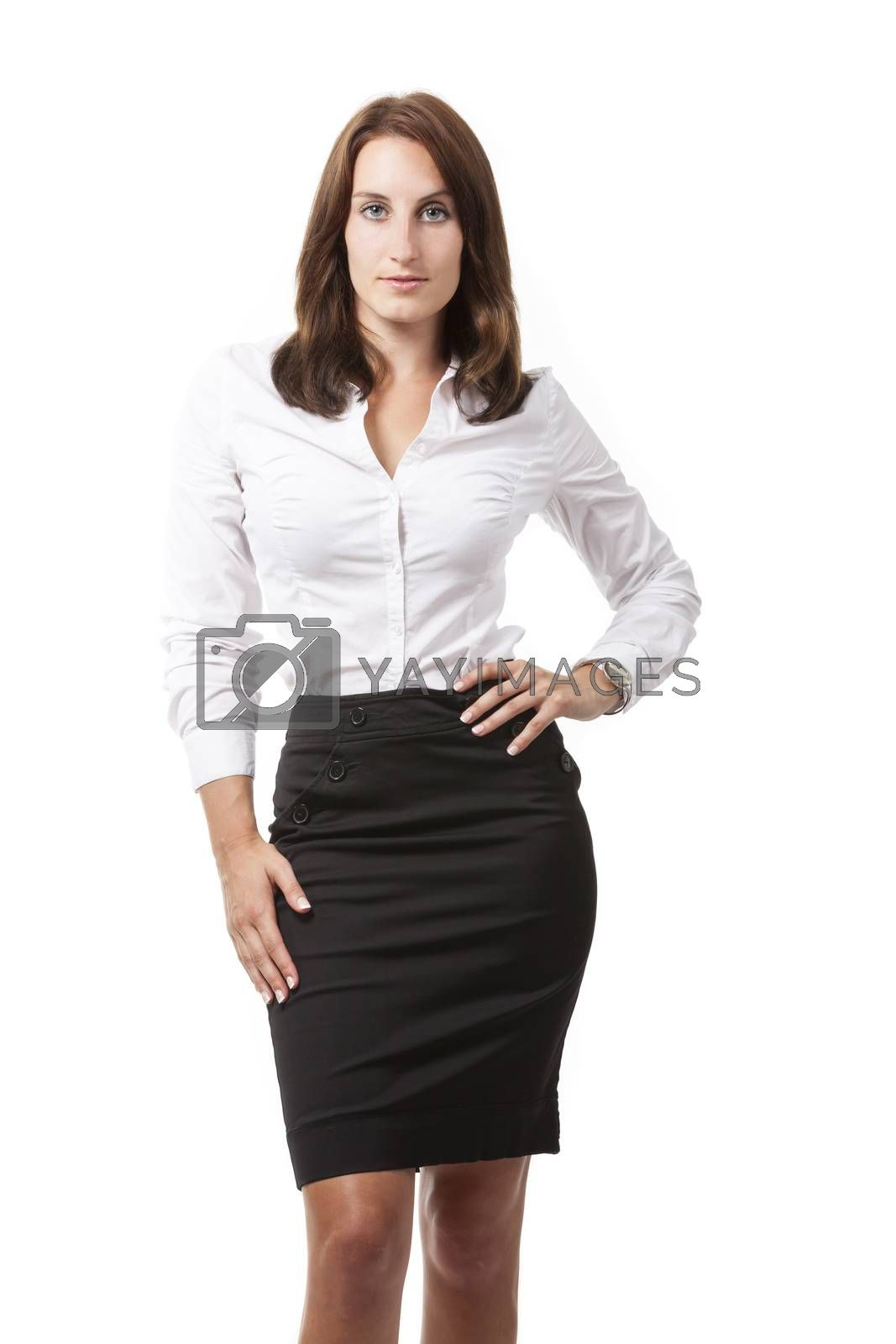 Business woman isolated on white