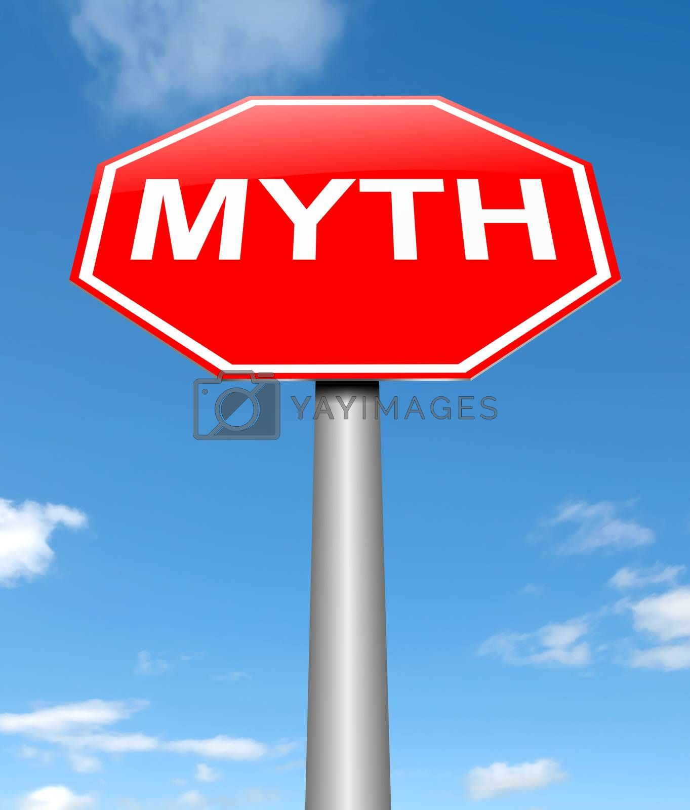 Illustration depicting a sign with a myth concept.