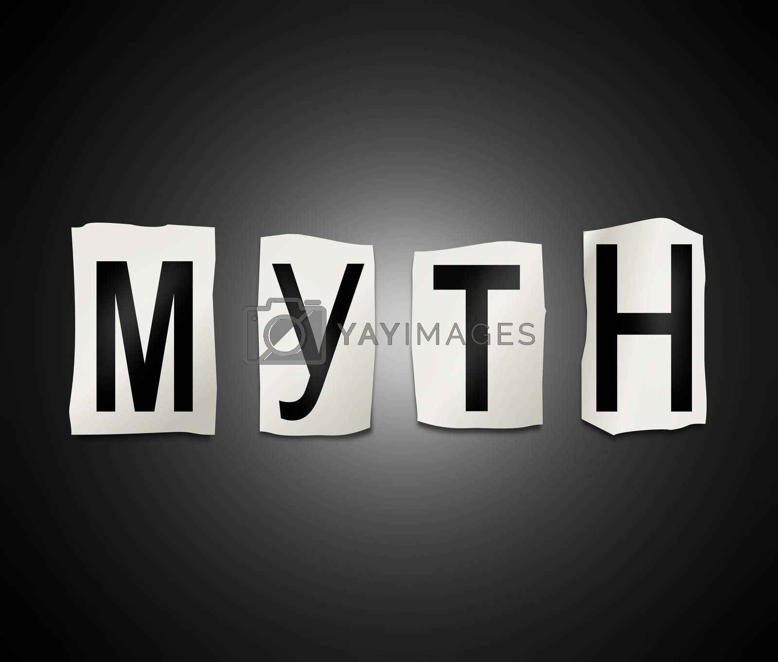 Illustration depicting a set of cut out printed letters arranged to form the word myth.