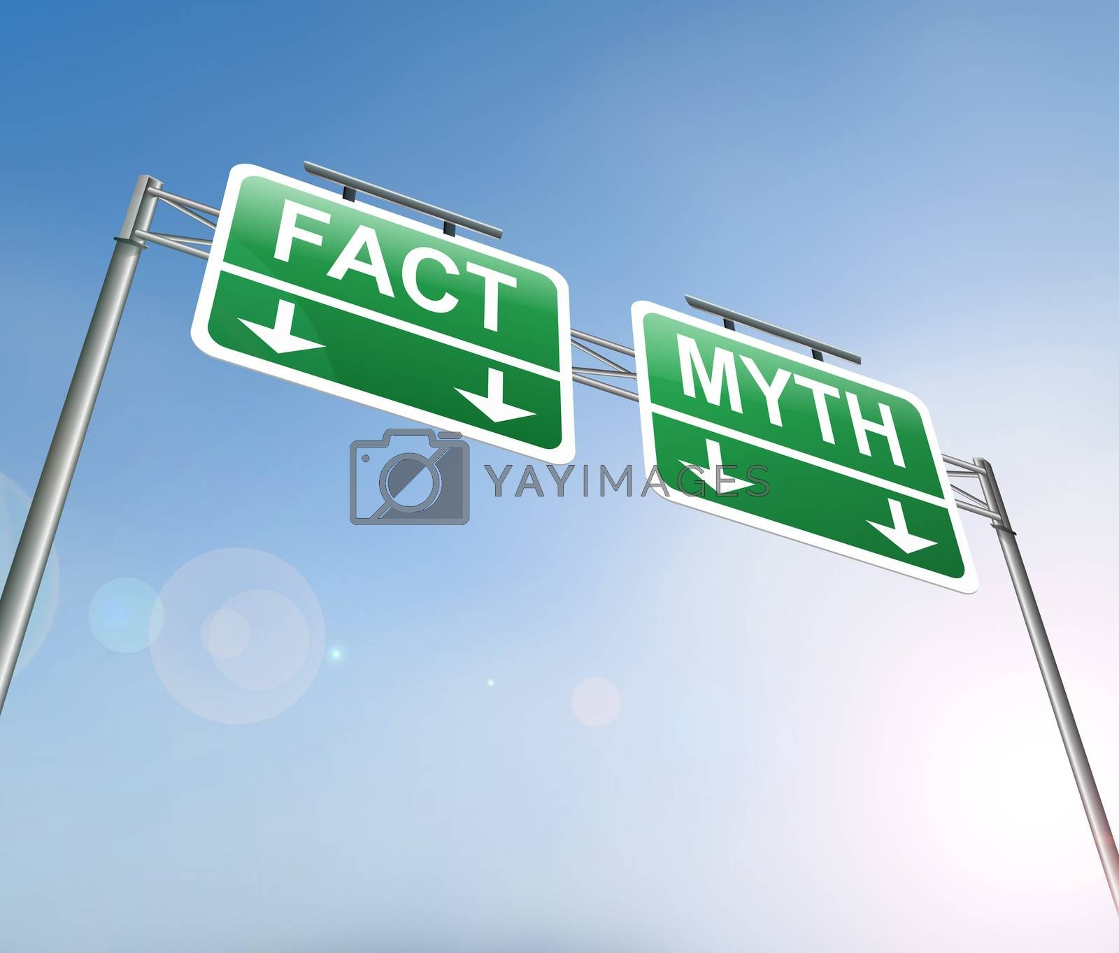 Illustration depicting a sign with a fact or myth concept.
