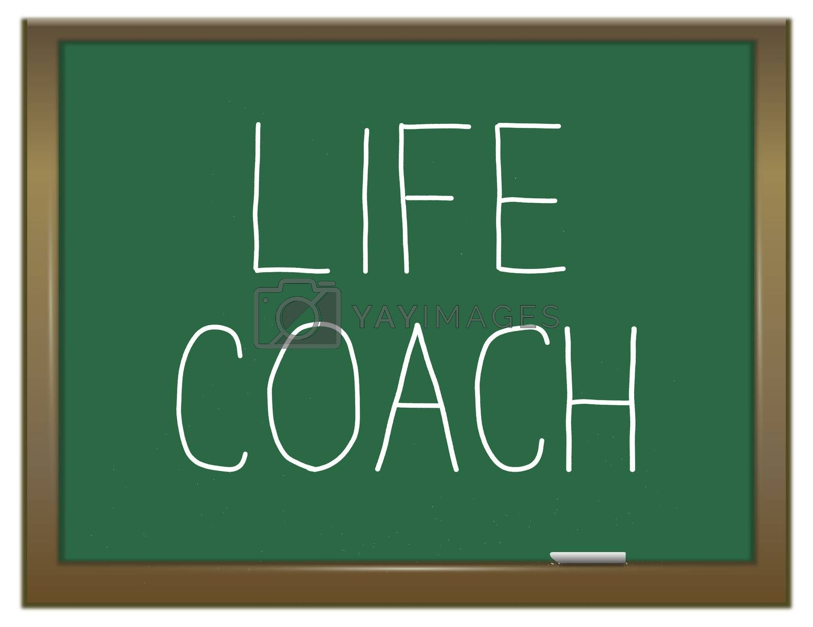 Illustration depicting a green chalkboard with a life coach concept.
