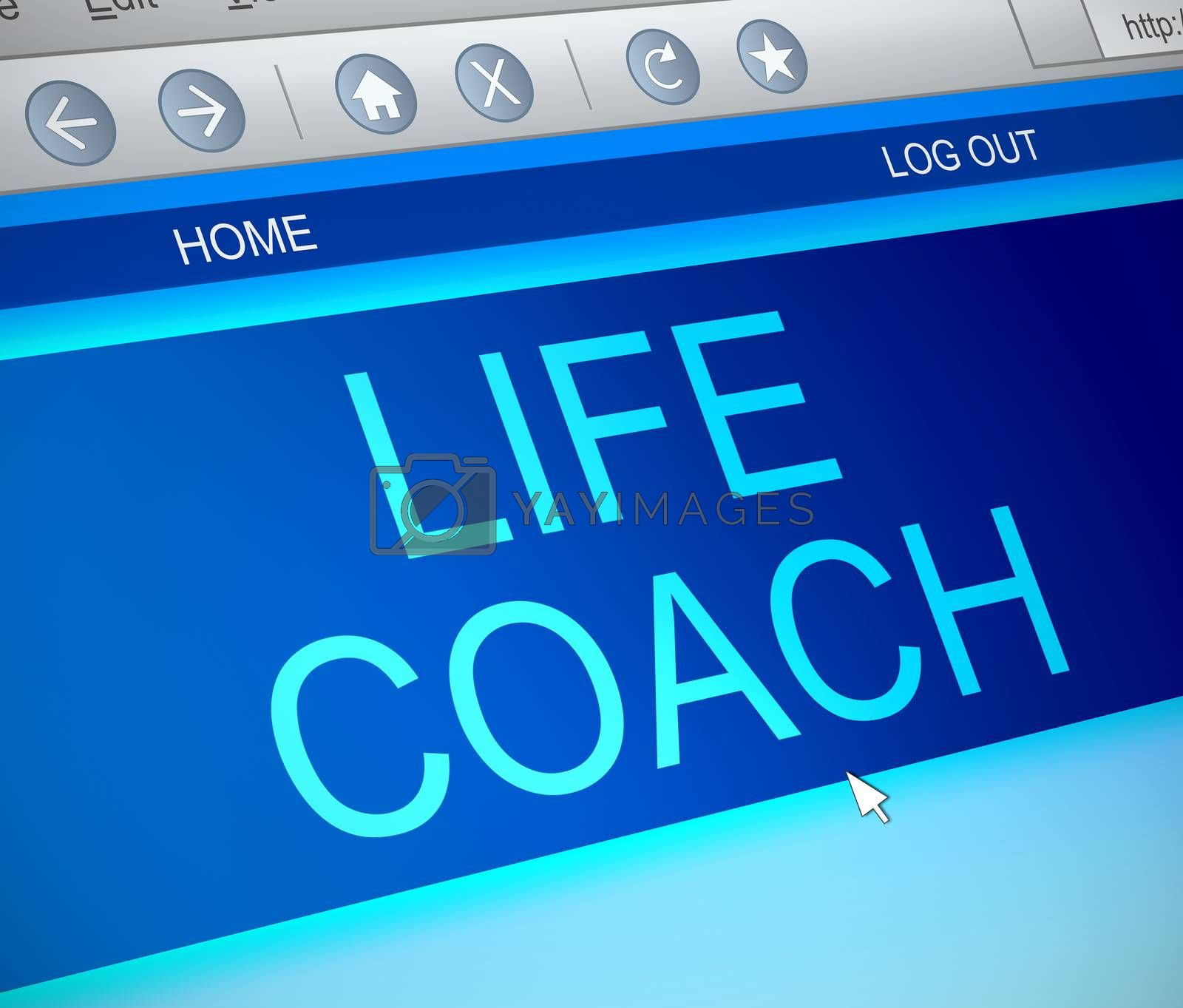 Illustration depicting a computer screen capture with a life coach concept.