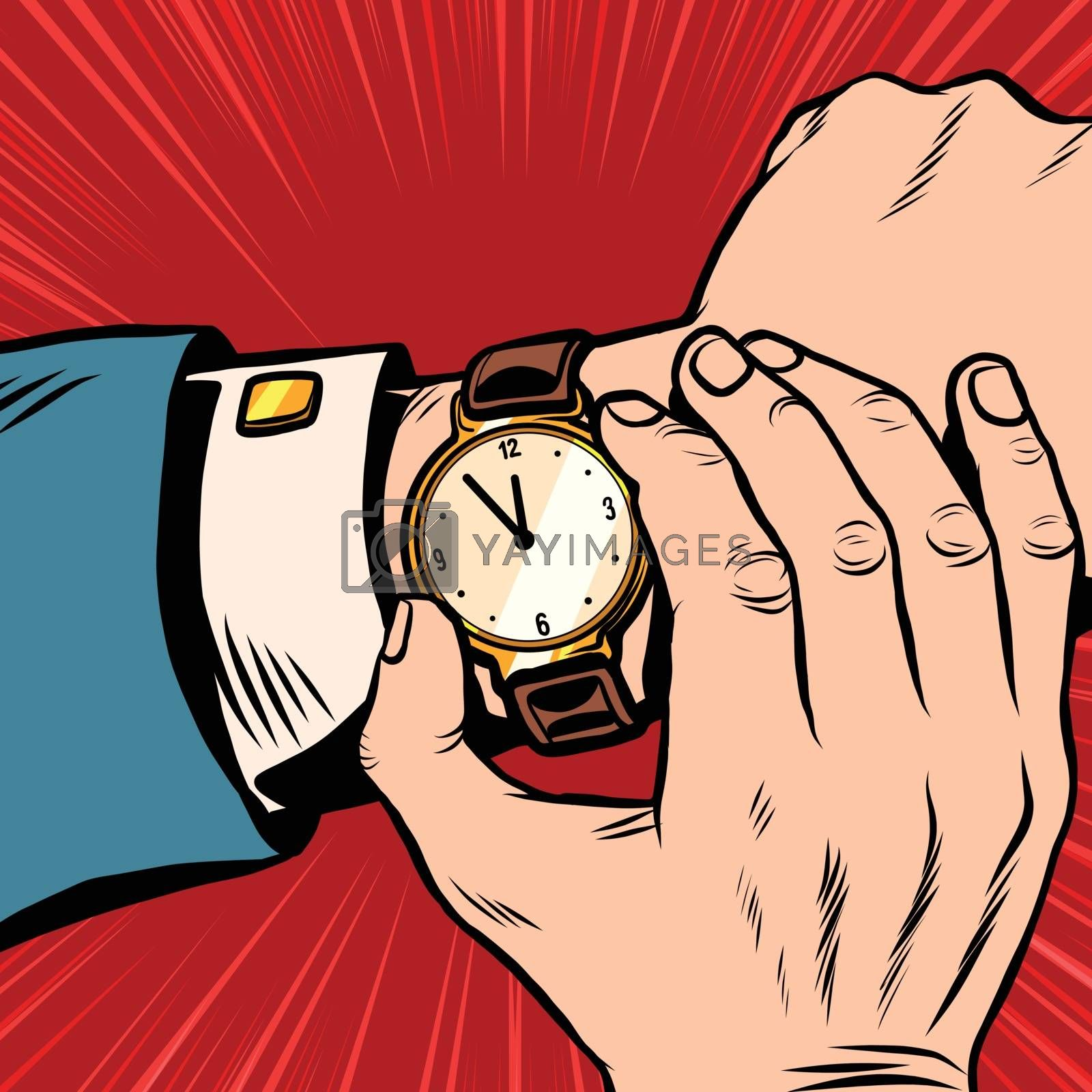 Wrist watch retro pop art pop art retro vector. What time is it. Retro clock with hands and dial
