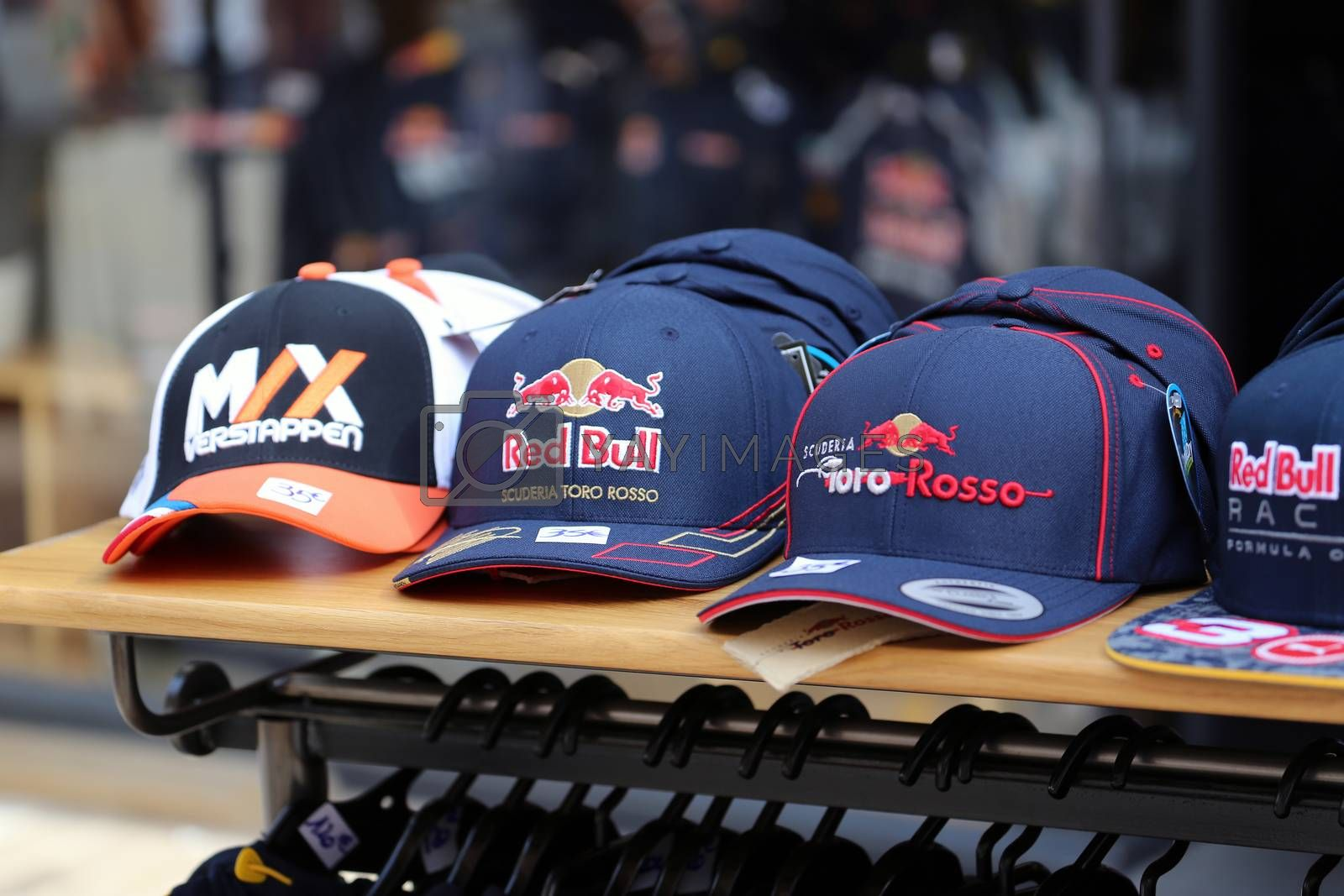Monte-Carlo, Monaco - May 28, 2016: Many Different Caps of Famous Formula One Team For Sale During the Monaco Formula 1 Grand Prix 2016