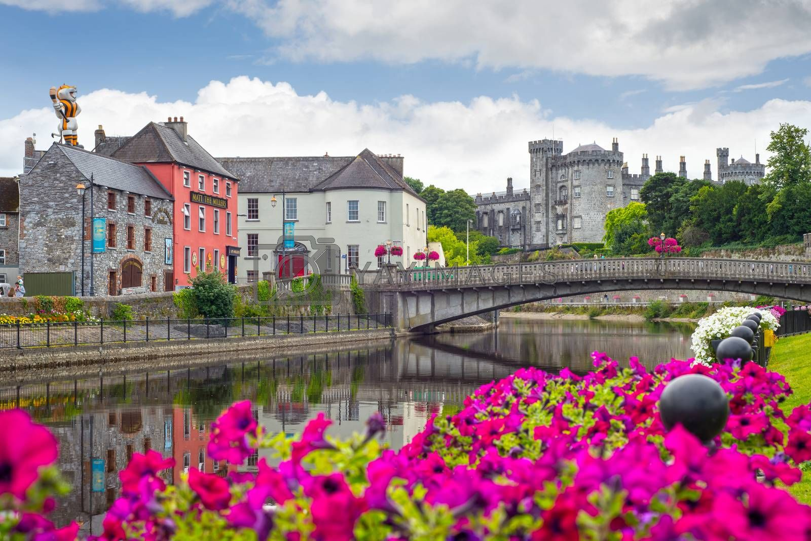 beautiful flower lined riverside view of kilkenny castle town and bridge