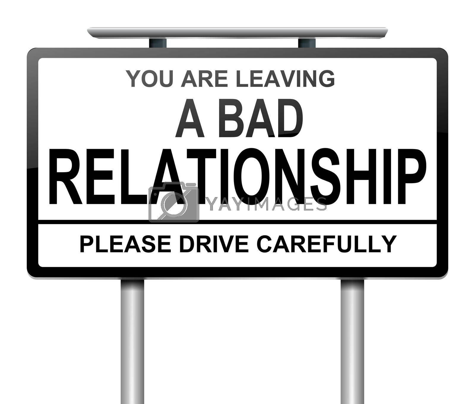 Illustration depicting a sign with a relationship concept.
