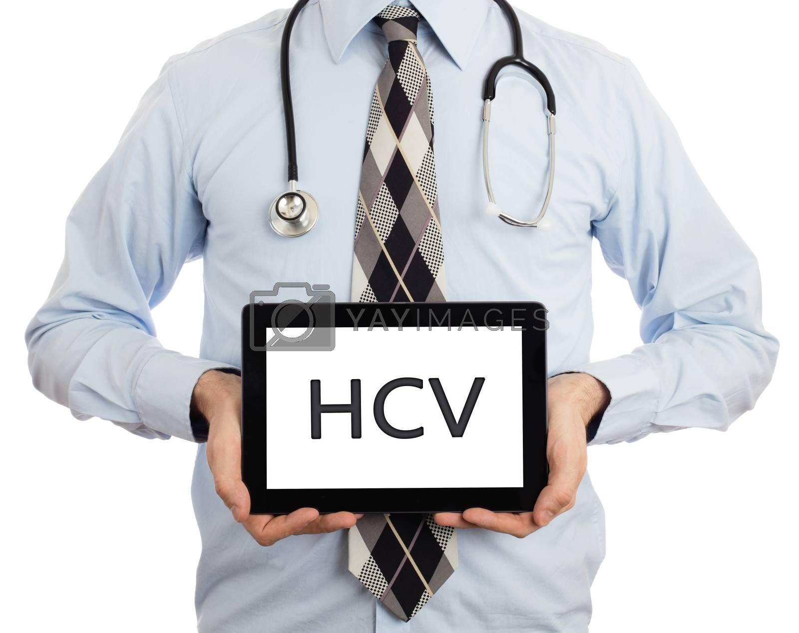 Doctor, isolated on white backgroun,  holding digital tablet - HCV