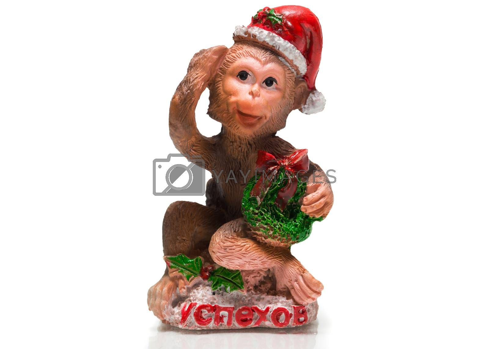 The photo shows a monkey with a gift
