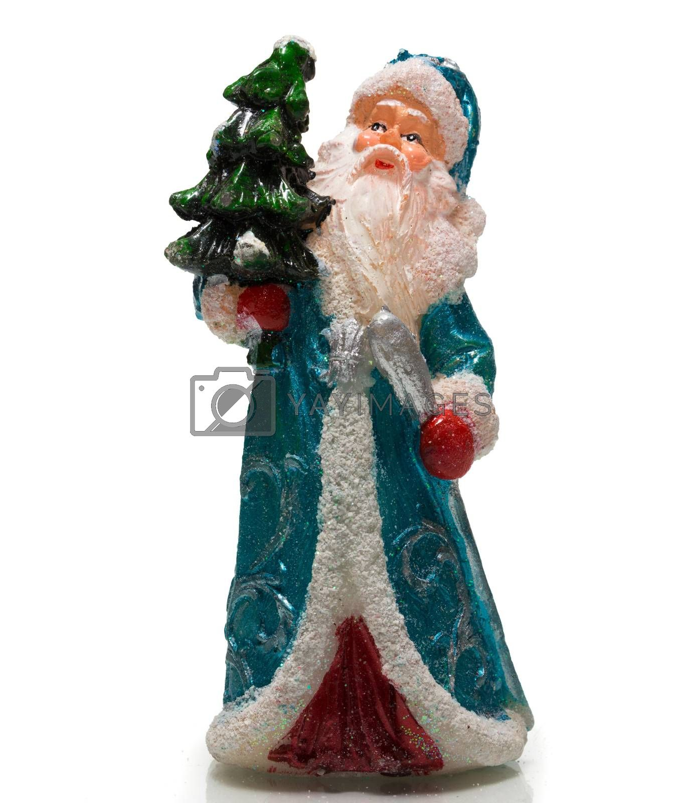 The photograph depicts Santa Claus with Christmas tree