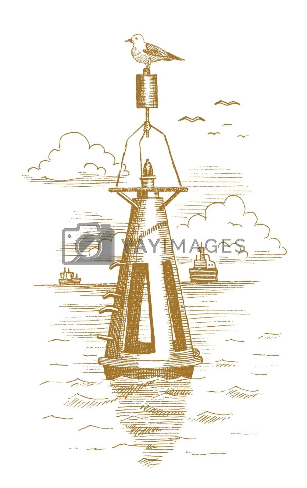Buoy in the sea drawn by hand