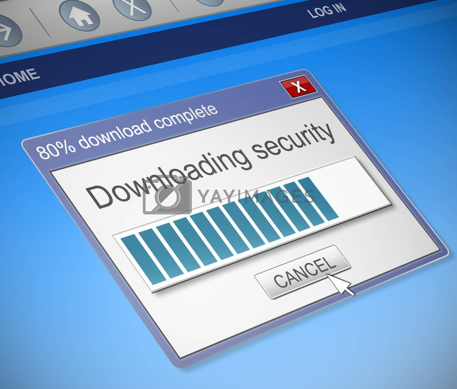 Illustration depicting a computer dialog box with a security download concept.