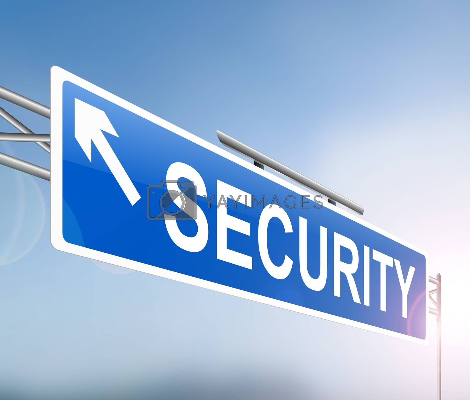 Illustration depicting a sign with a security concept.
