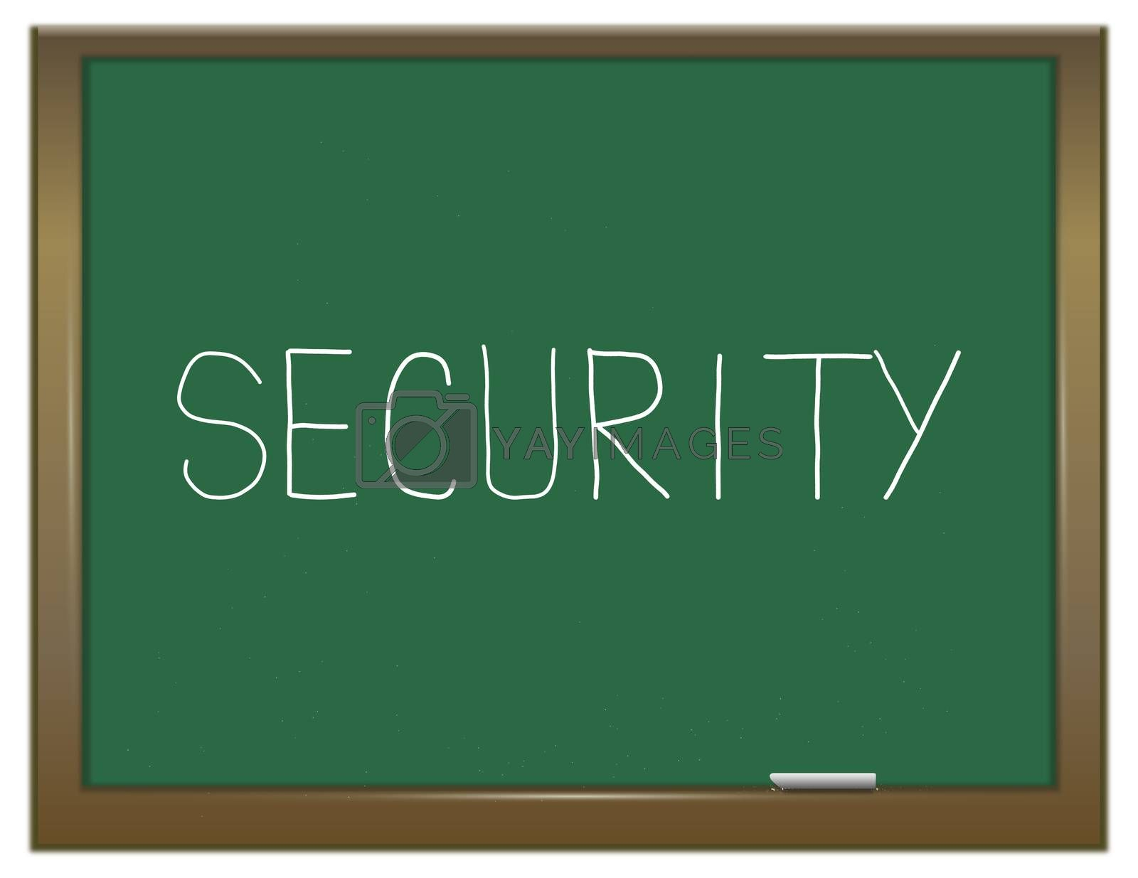 Illustration depicting a green chalkboard with a security concept.