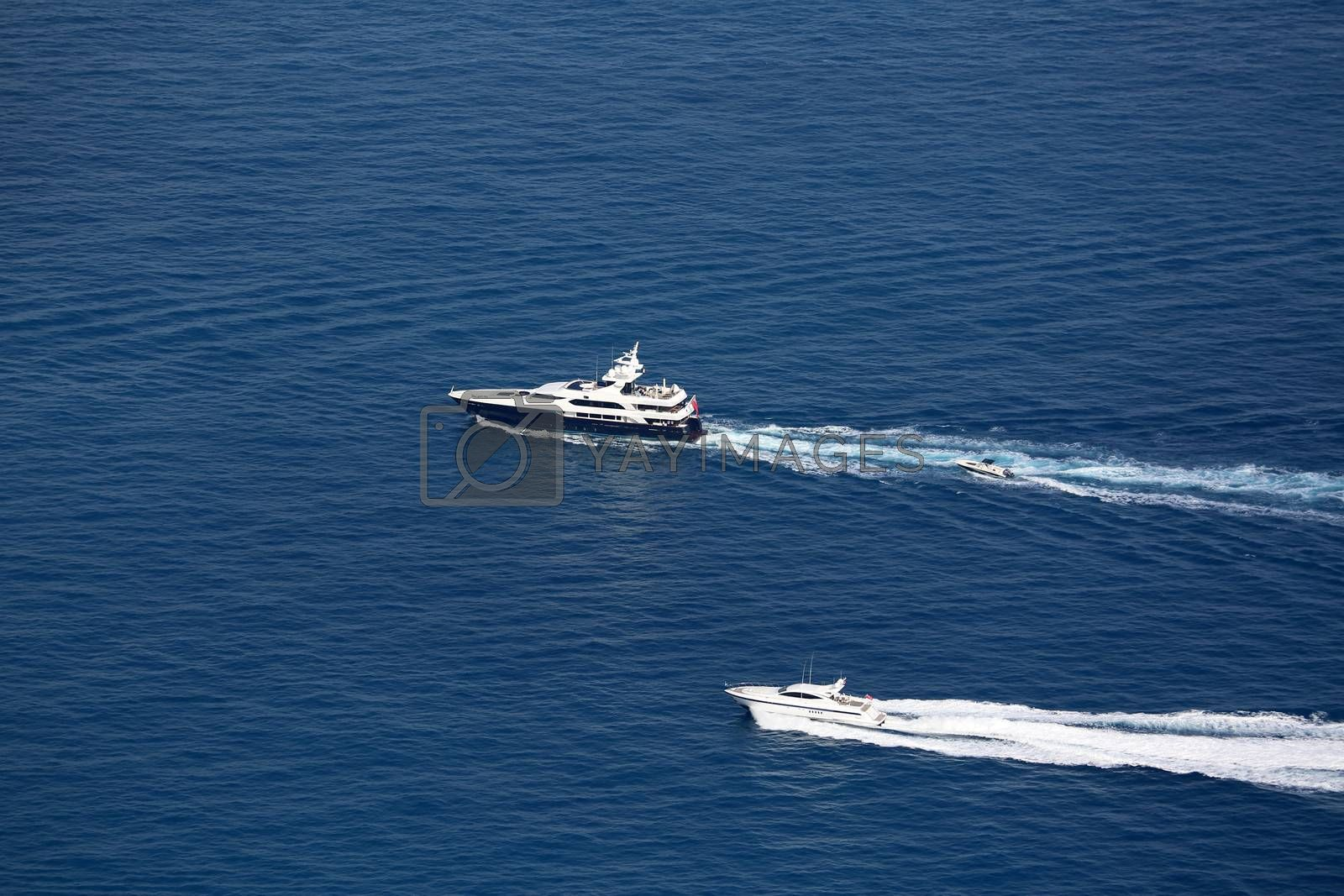 Luxury Yachts Wake on Mediterranean Sea, between Cap d'Ail and Monaco