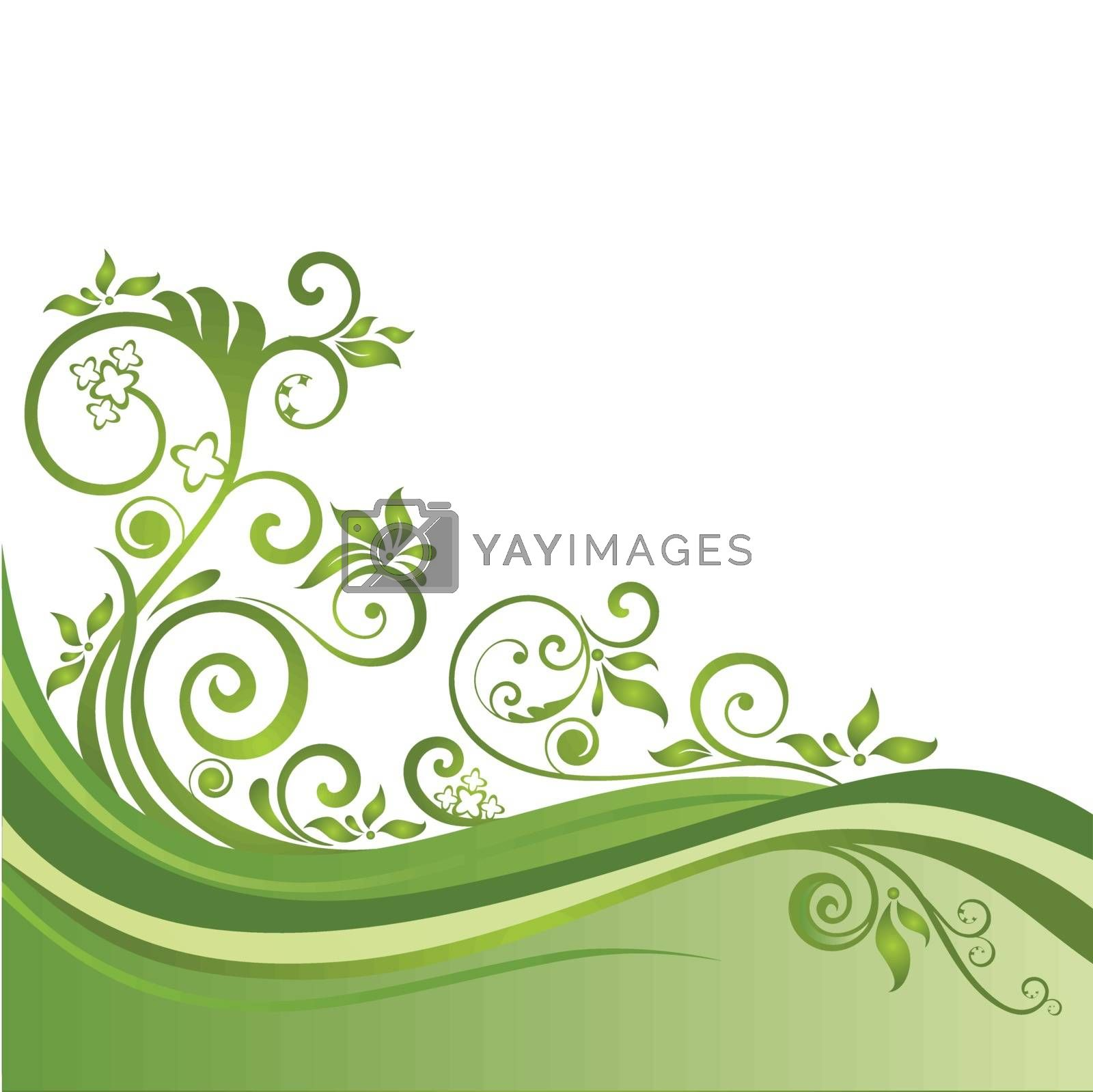 Green floral banner isolated. This image is a vector illustration.