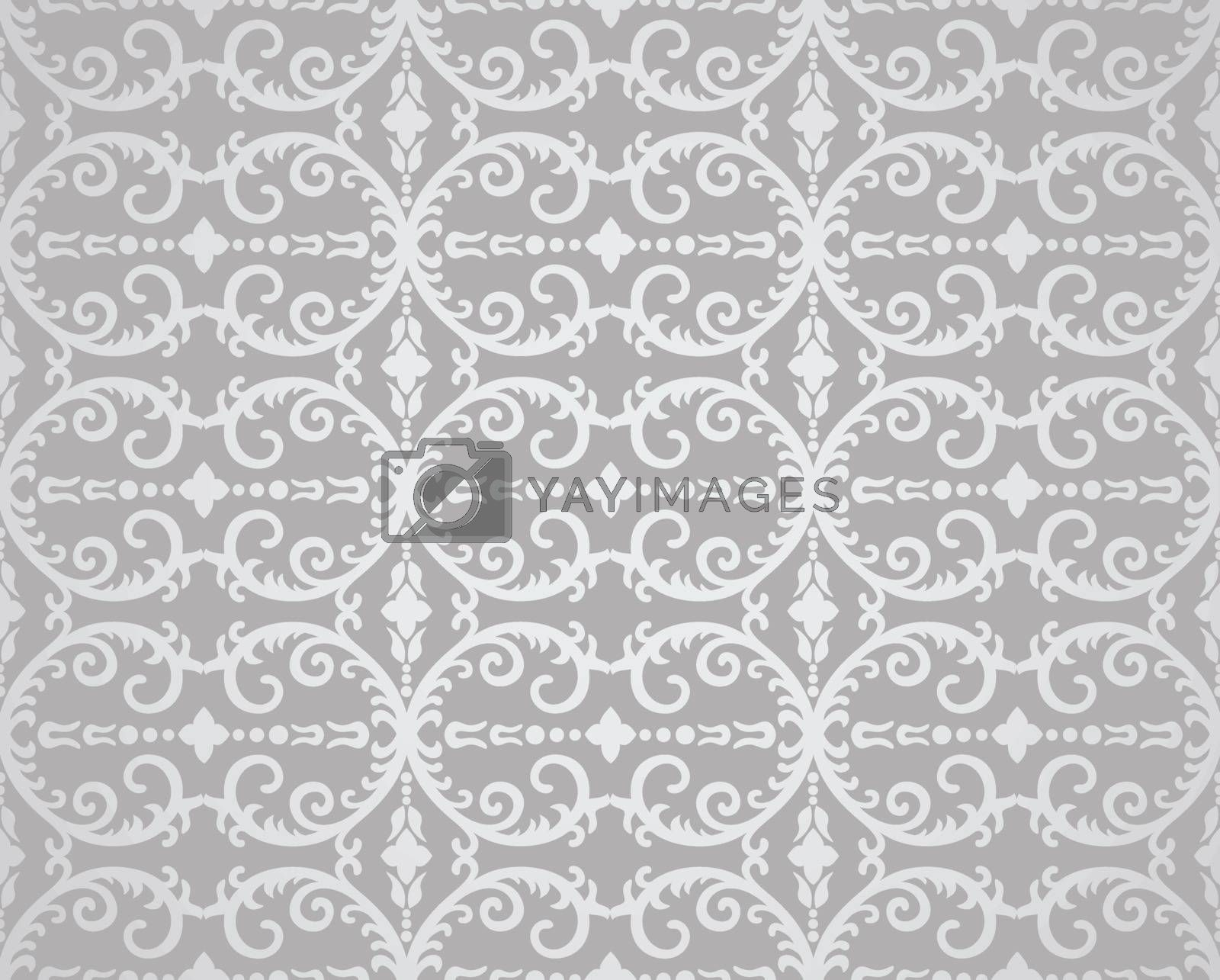 Seamless silver flowers and foliage wallpaper pattern. This image is a vector illustration.