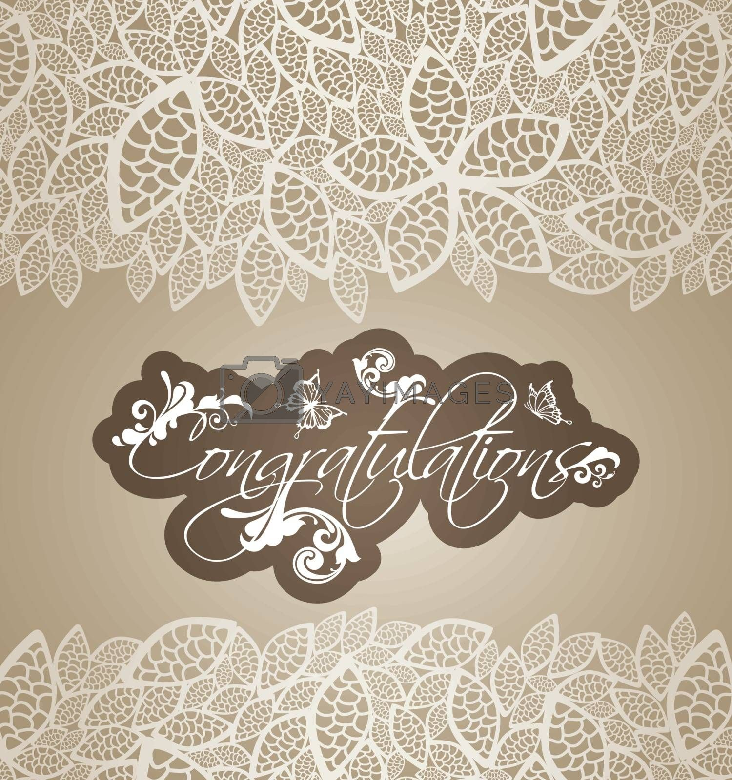 Congratulations greeting card with floral swirls and lace leaves borders. This image is a vector illustration.
