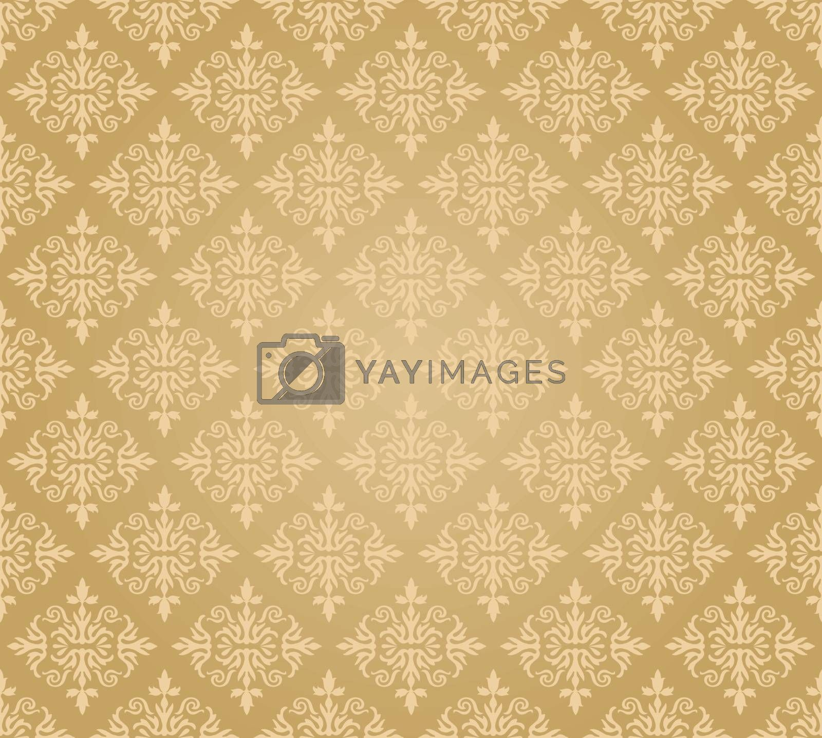 Seamless golden floral wallpaper diamond pattern. This image is a vector illustration.