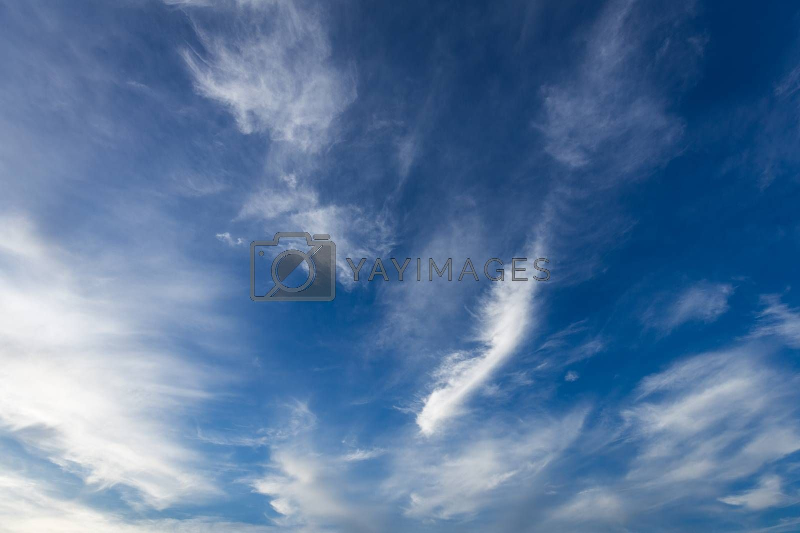 Background of blue sky with moving white soft cloud