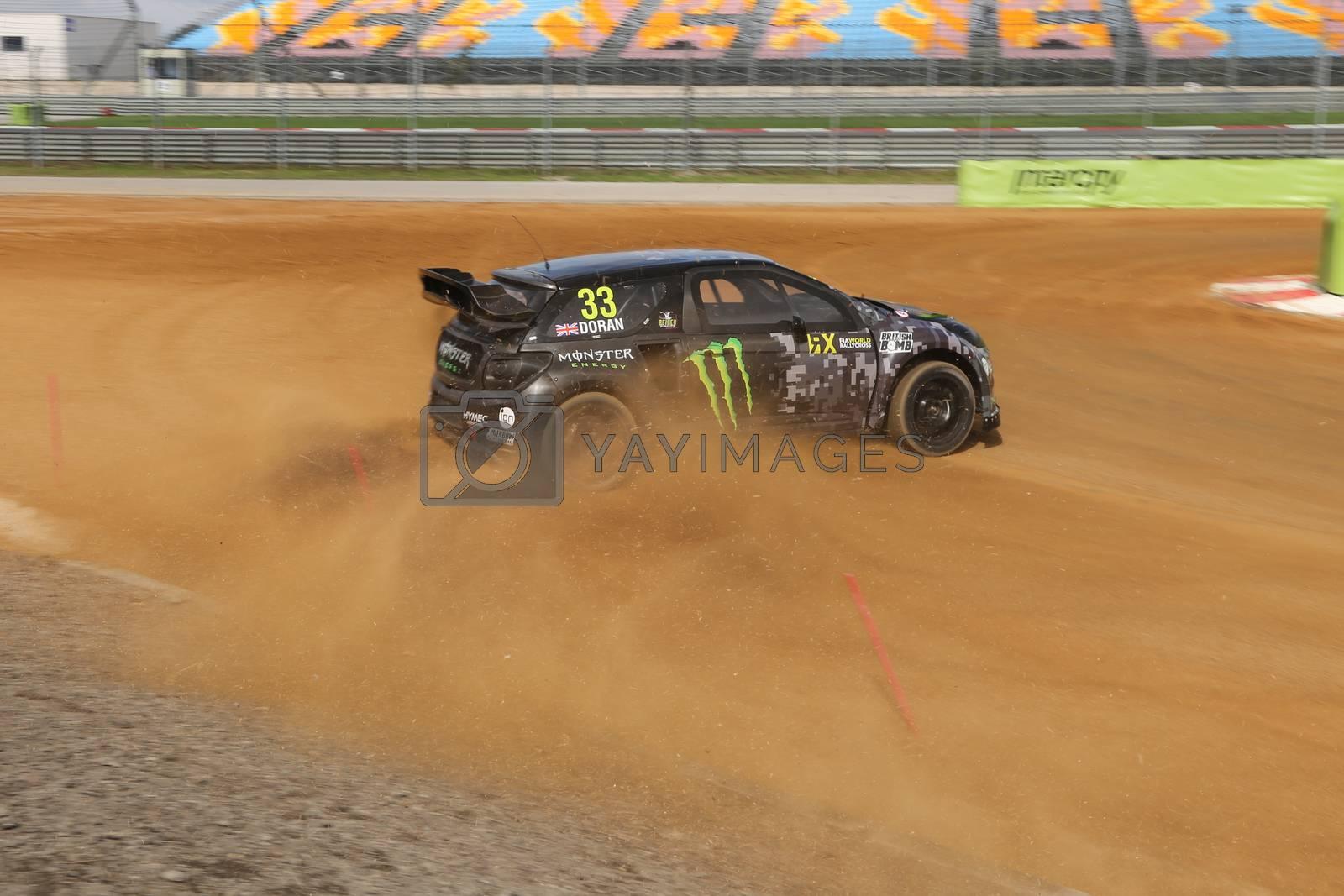 ISTANBUL, TURKEY - OCTOBER 03, 2015: Liam Doran drives Citroen DS3 of SDRX Team in FIA World Rallycross Championship.