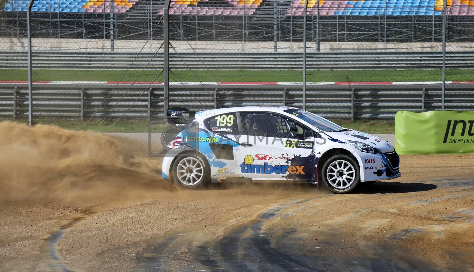 ISTANBUL, TURKEY - OCTOBER 03, 2015: Janis Baumanis drives Peugeot 208 of Hansen Talent Development Team in FIA World Rallycross Championship.
