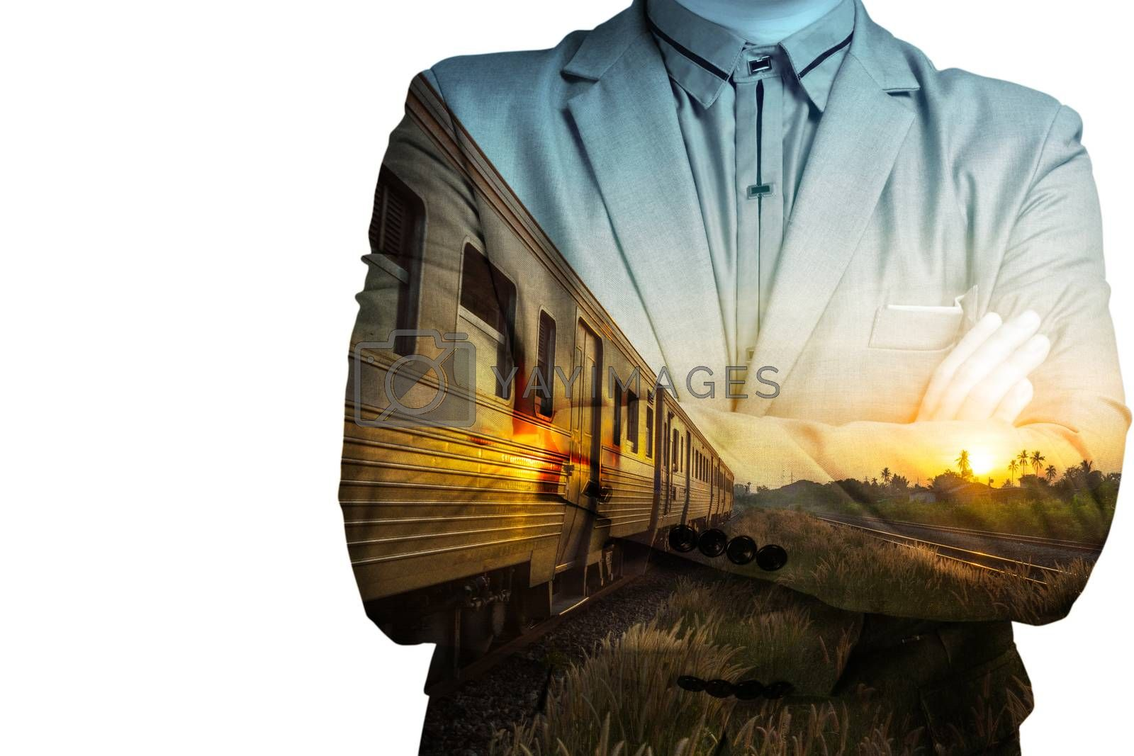 Double exposure of Train Station with Railway and businessman as Business development concept.