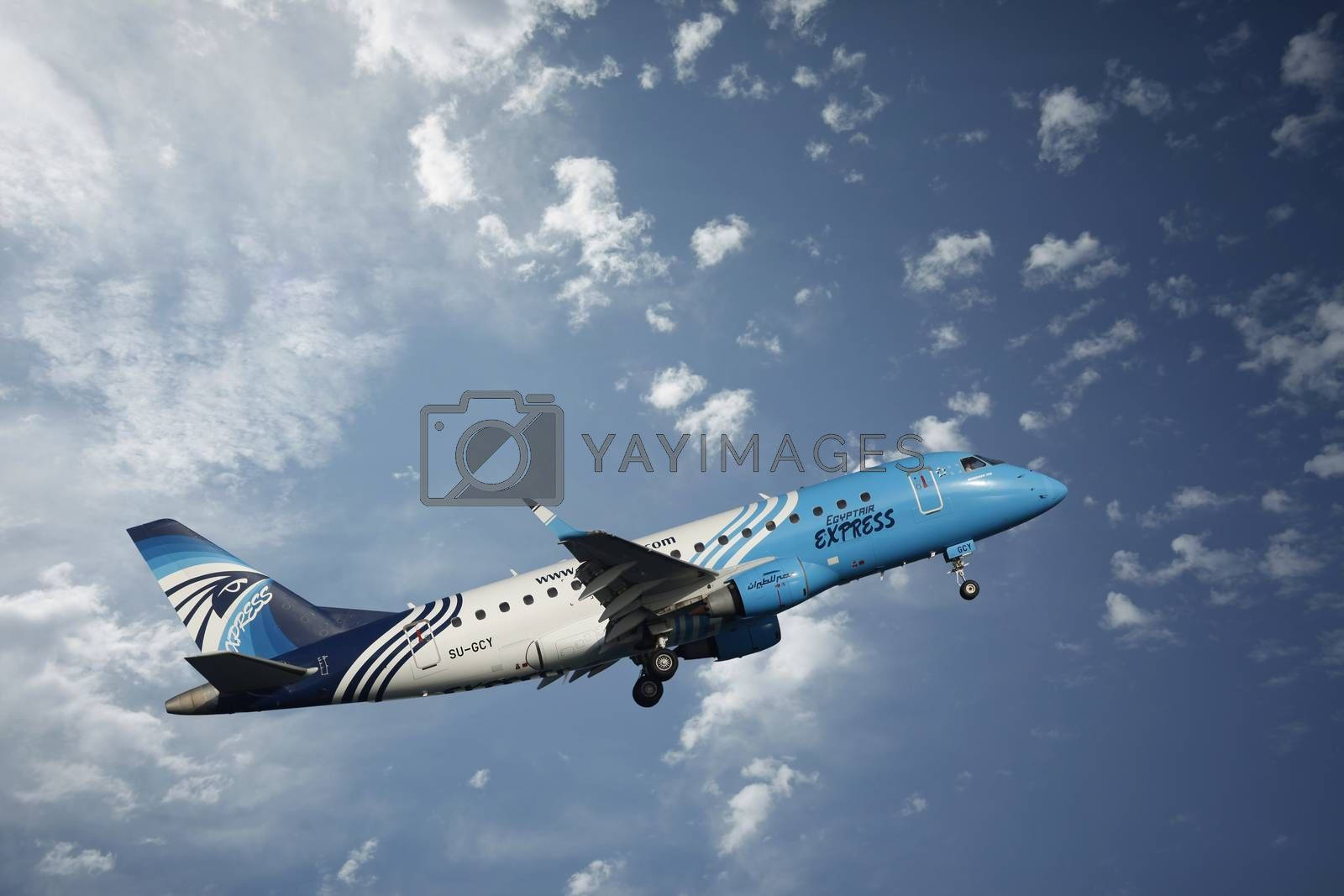 Larnaca, Cyprus - May 22, 2016: Airbus A320 airline Egypt Air in the skies over the island of Cyprus, at the airport in Larnaca, Cyprus