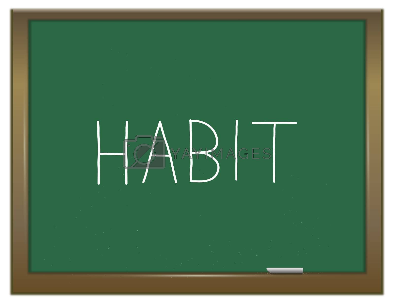 Illustration depicting a green chalkboard with a habit concept.