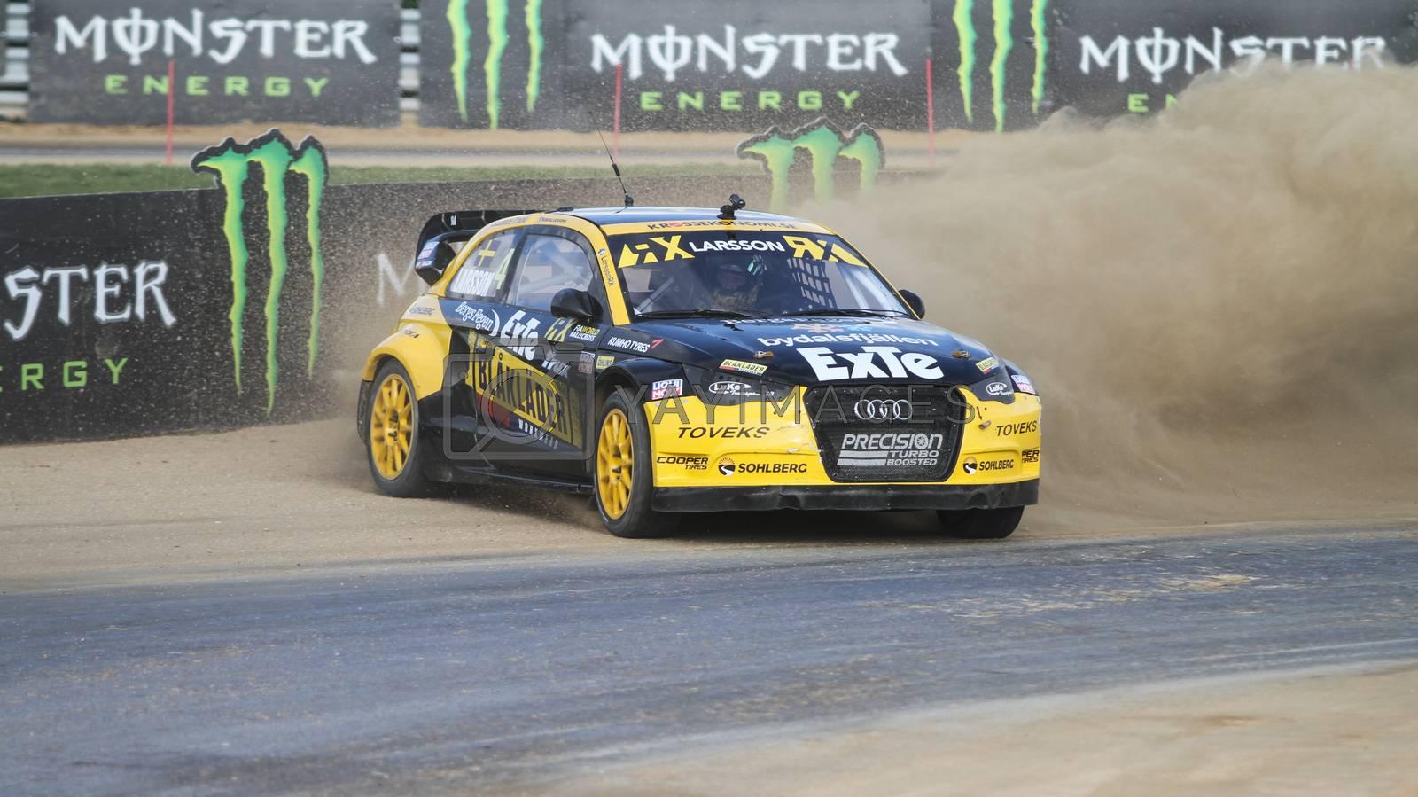 ISTANBUL, TURKEY - OCTOBER 03, 2015: Robin Larsson drives Audi A1 in FIA World Rallycross Championship.