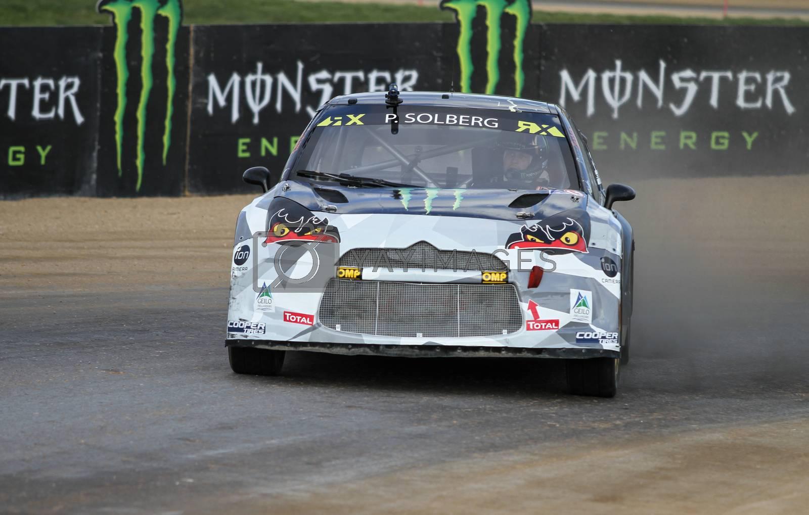 ISTANBUL, TURKEY - OCTOBER 03, 2015: Petter Solberg drives Citroen DS3 of SDRX Team in FIA World Rallycross Championship.